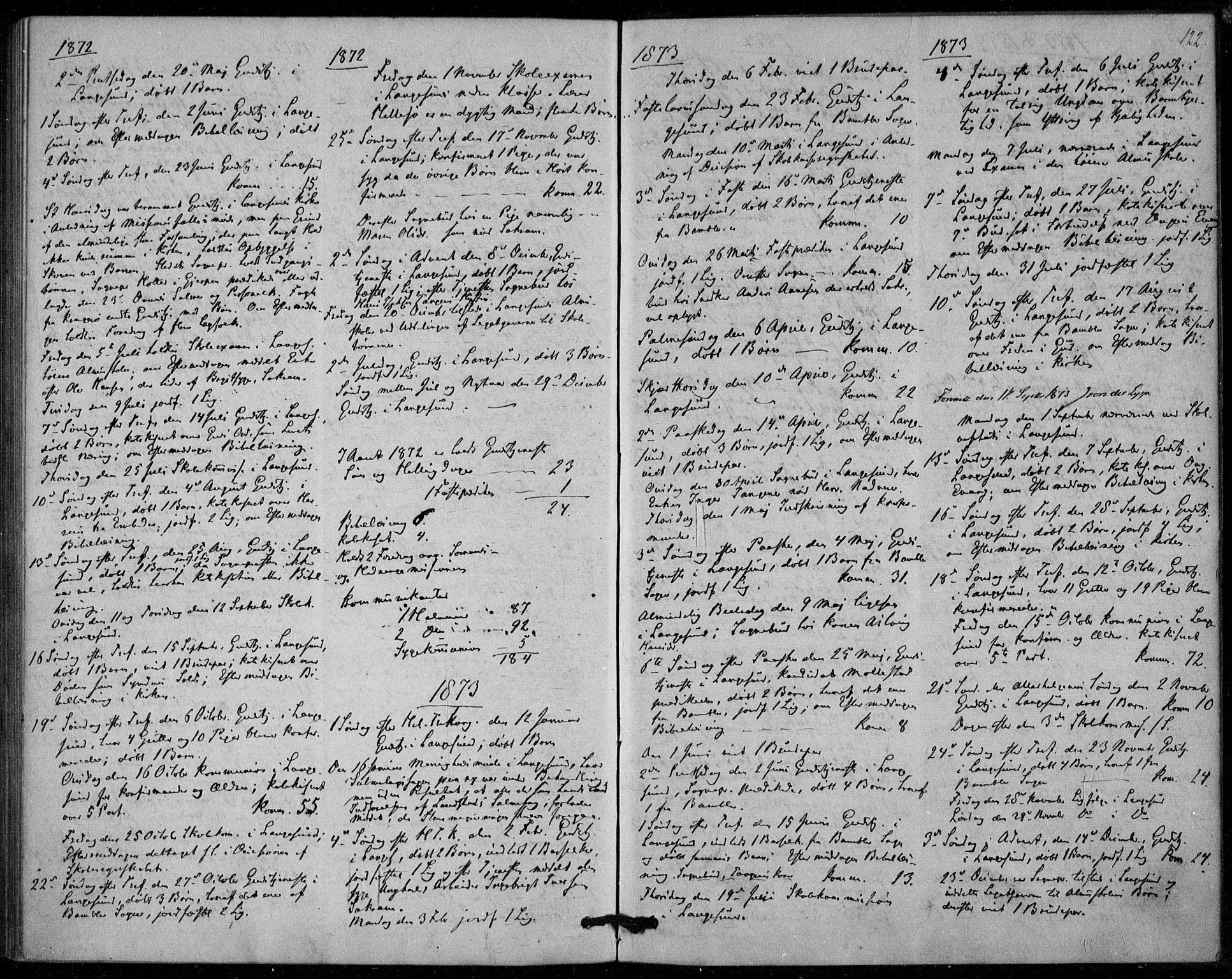 SAKO, Langesund kirkebøker, F/Fa/L0001: Ministerialbok nr. 1, 1870-1877, s. 122