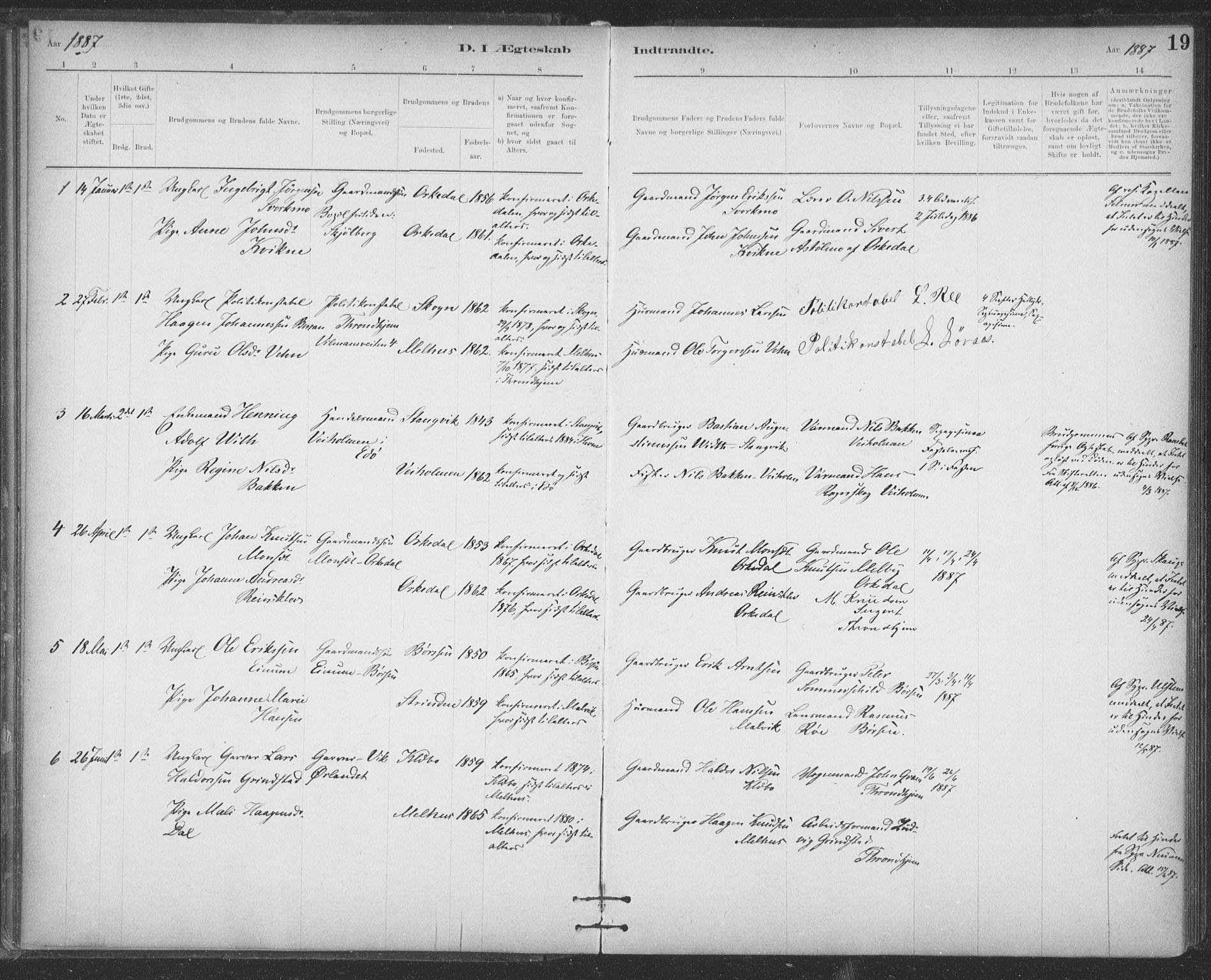 SAT, Ministerialprotokoller, klokkerbøker og fødselsregistre - Sør-Trøndelag, 623/L0470: Ministerialbok nr. 623A04, 1884-1938, s. 19