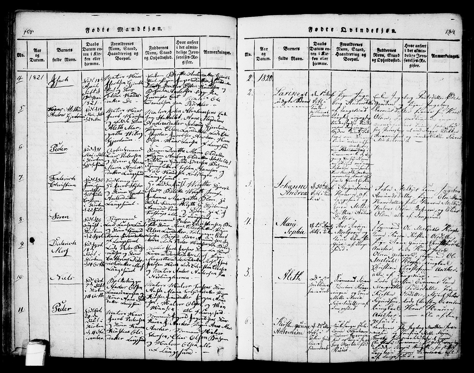 SAKO, Bamble kirkebøker, F/Fa/L0003: Ministerialbok nr. I 3 /2, 1815-1834, s. 183-184