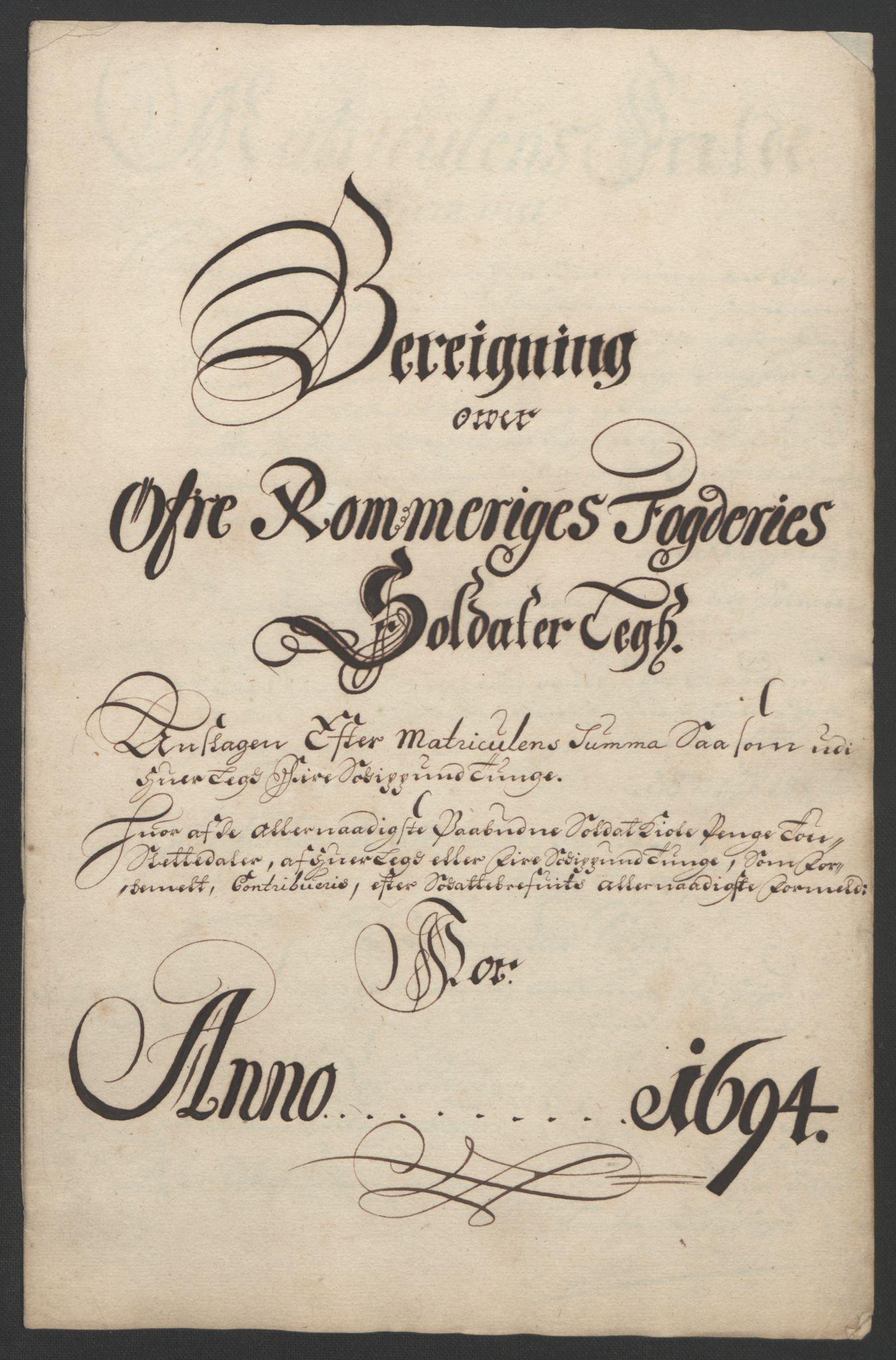 RA, Rentekammeret inntil 1814, Reviderte regnskaper, Fogderegnskap, R12/L0706: Fogderegnskap Øvre Romerike, 1694, s. 241