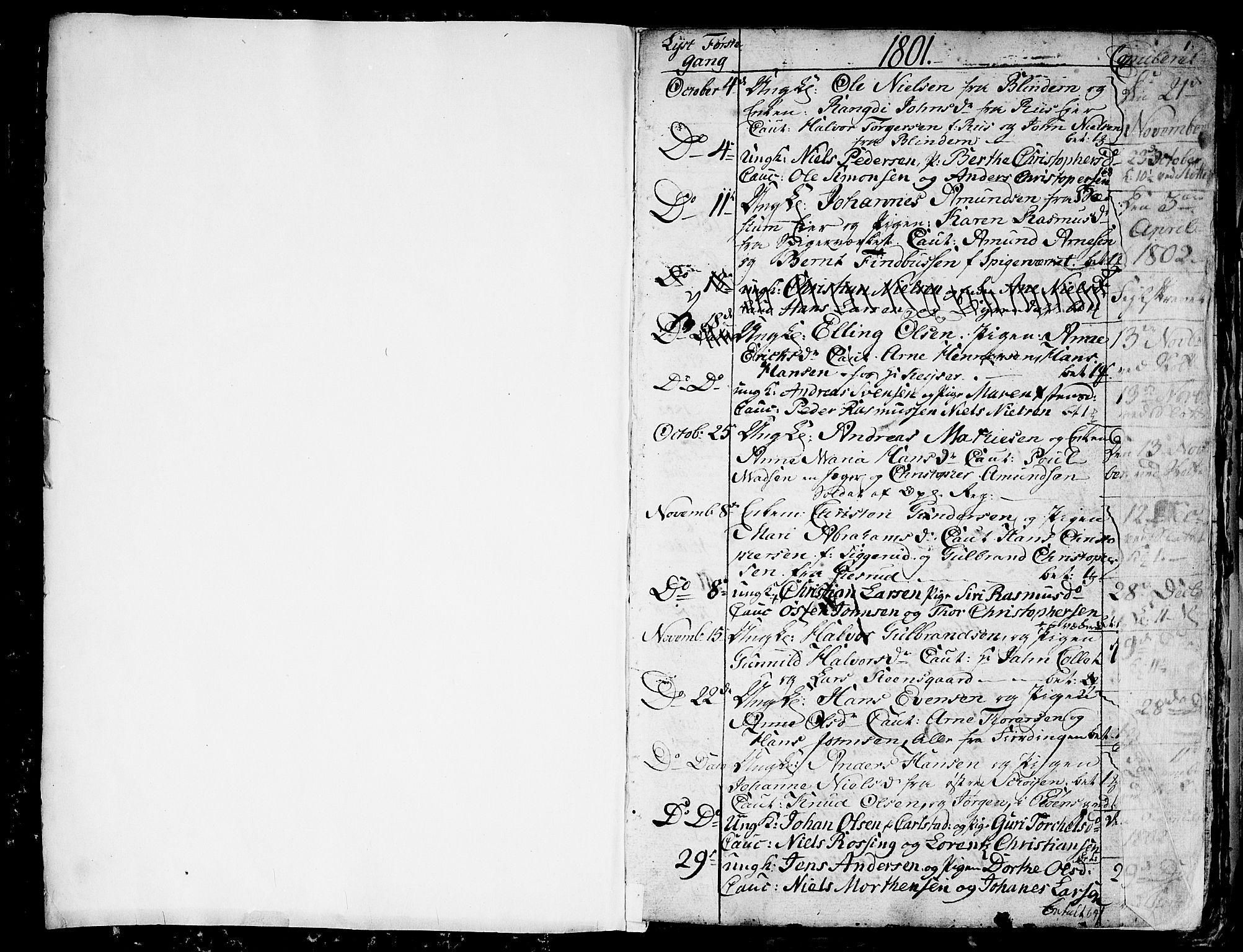 SAO, Aker prestekontor kirkebøker, G/L0001: Klokkerbok nr. 1, 1796-1826, s. 0-1