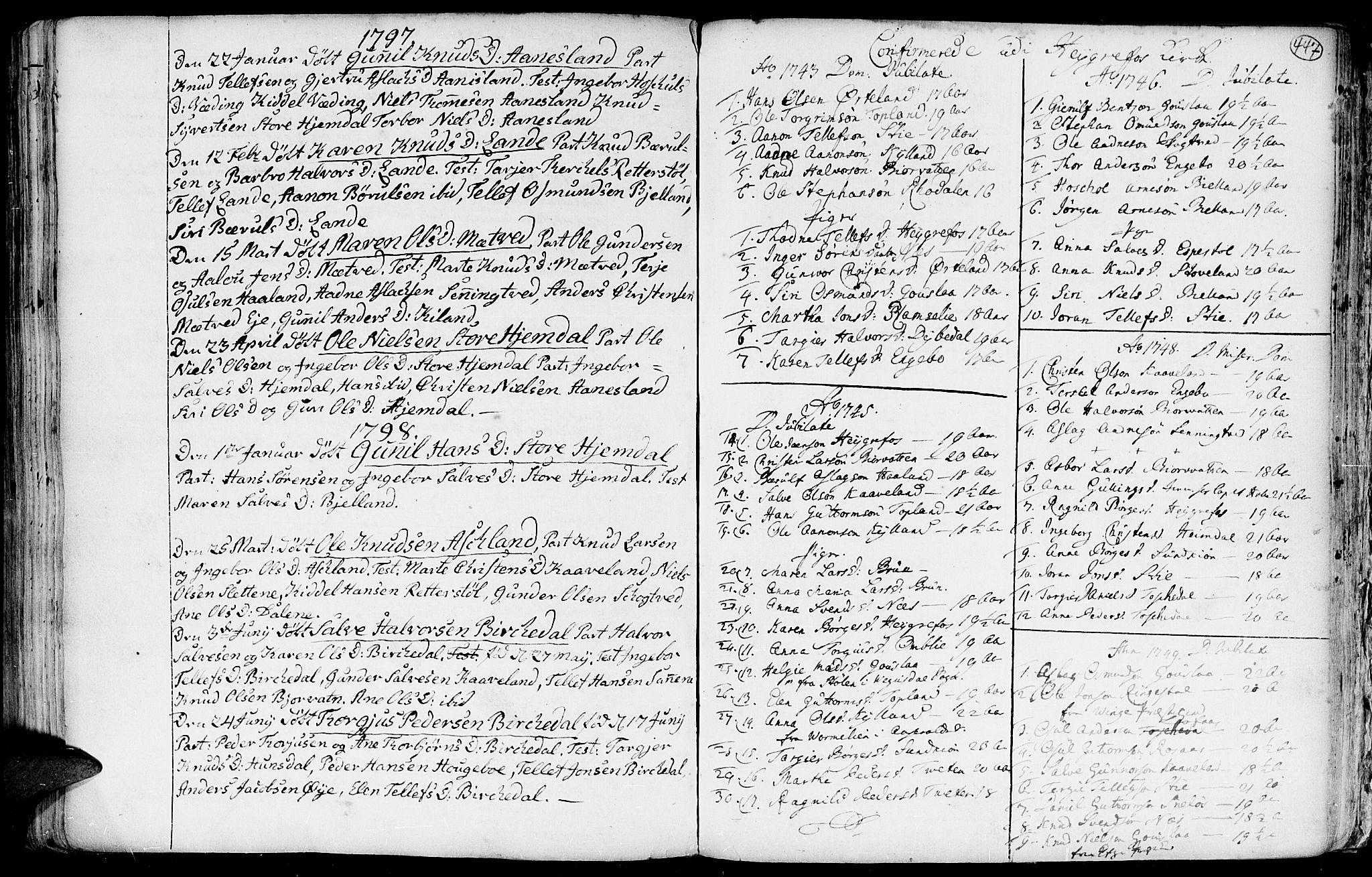 SAK, Hommedal sokneprestkontor, F/Fa/Fab/L0002: Ministerialbok nr. A 2 /3, 1740-1821, s. 447