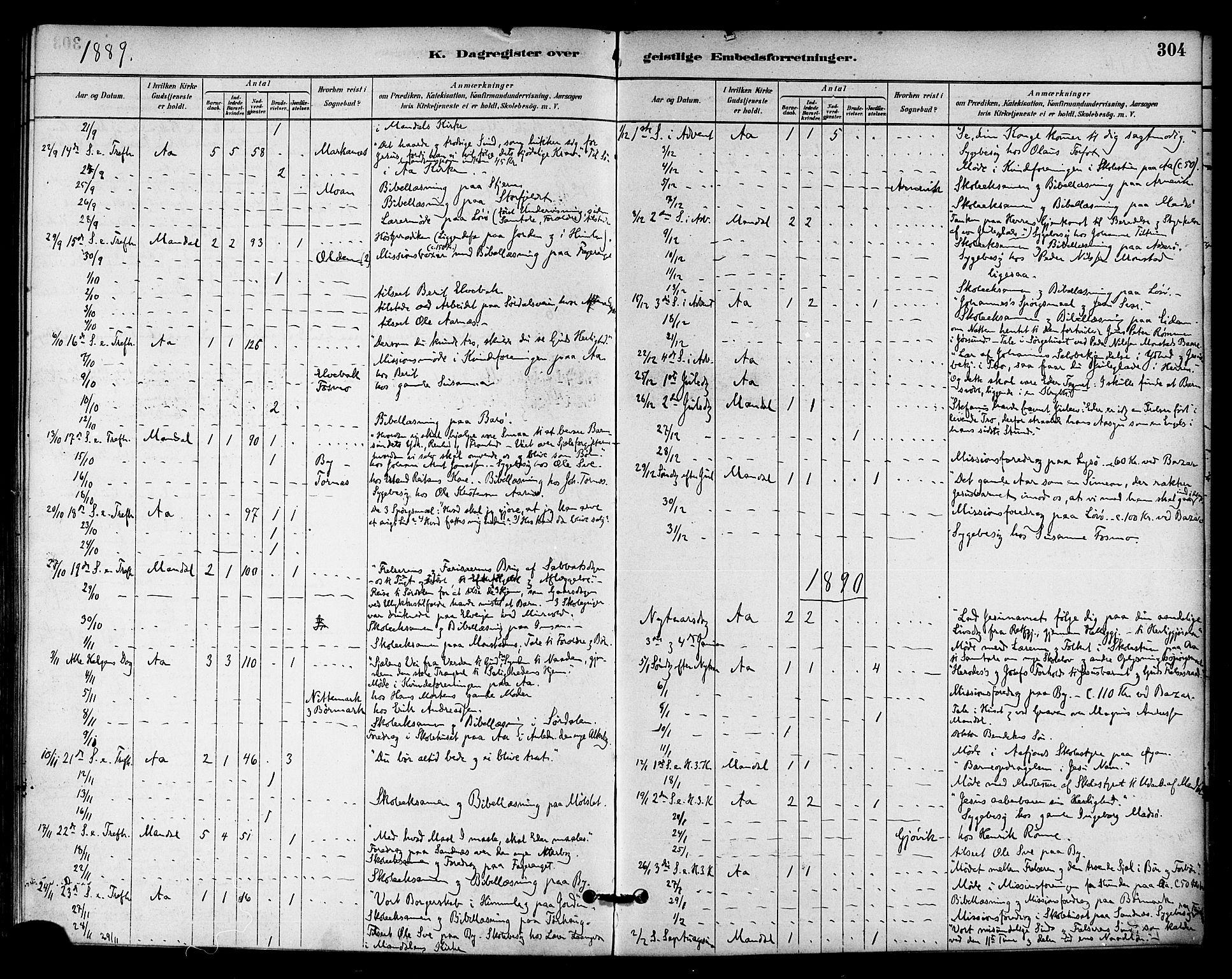 SAT, Ministerialprotokoller, klokkerbøker og fødselsregistre - Sør-Trøndelag, 655/L0680: Ministerialbok nr. 655A09, 1880-1894, s. 304