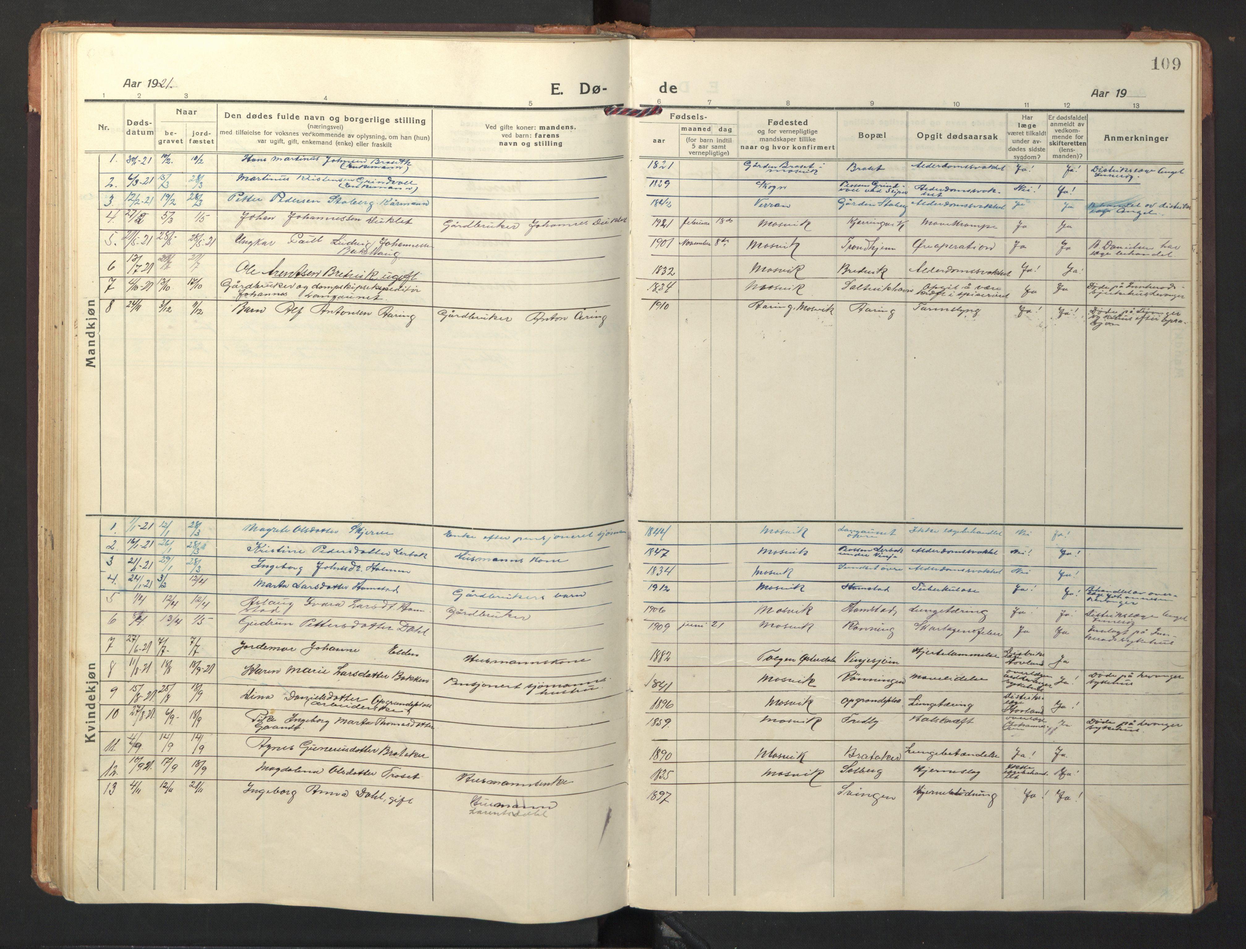 SAT, Ministerialprotokoller, klokkerbøker og fødselsregistre - Nord-Trøndelag, 733/L0328: Klokkerbok nr. 733C03, 1919-1966, s. 109