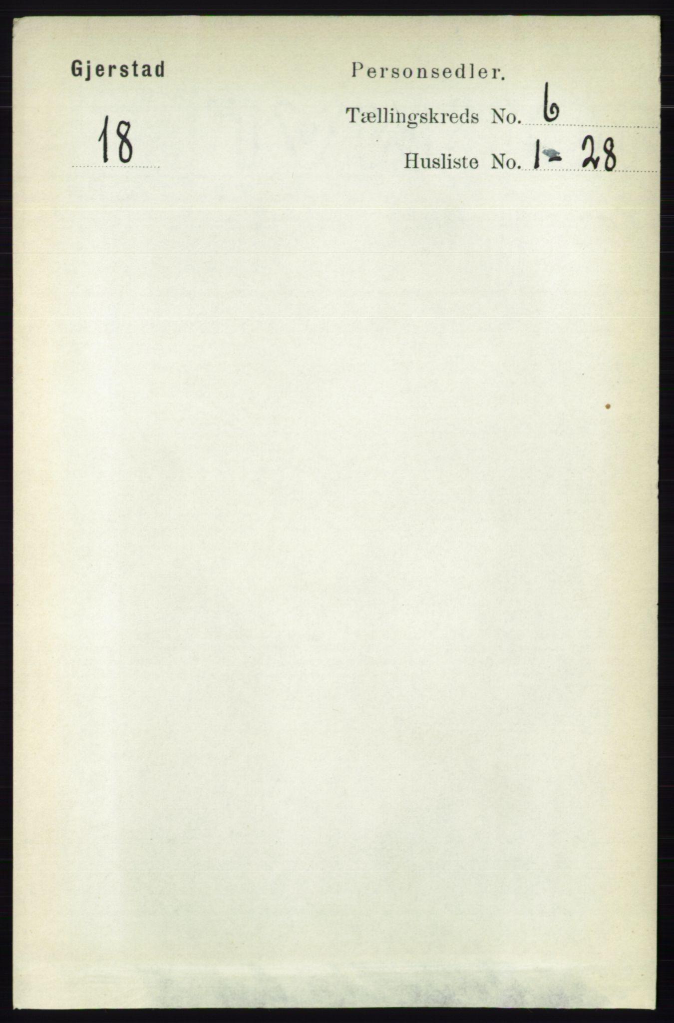 RA, Folketelling 1891 for 0911 Gjerstad herred, 1891, s. 2377