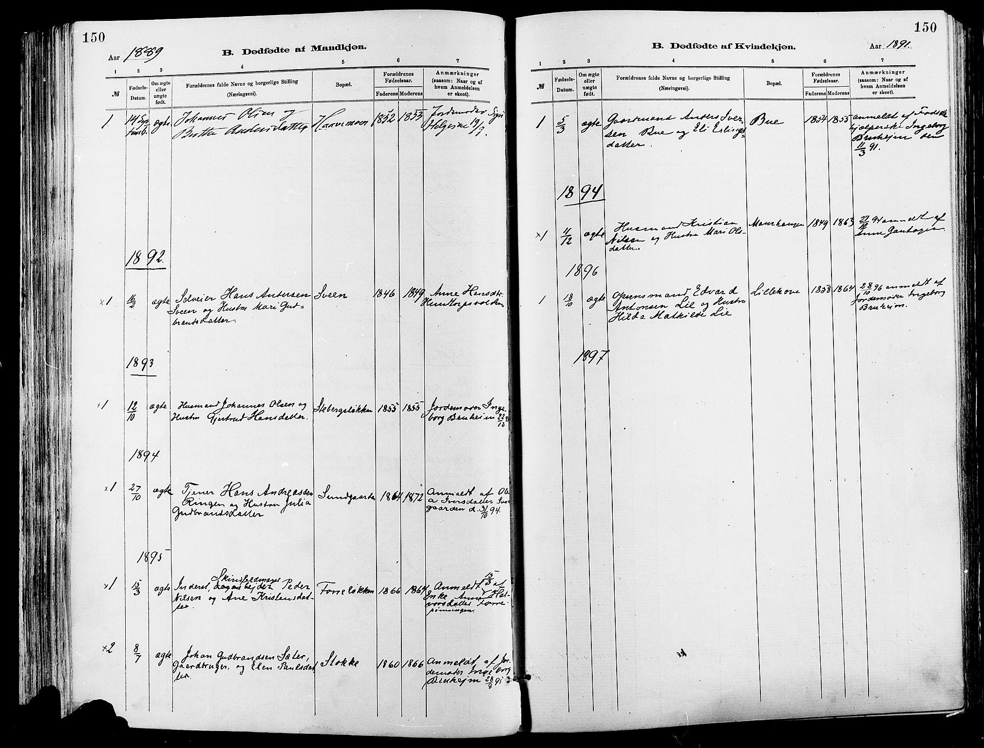 SAH, Sør-Fron prestekontor, H/Ha/Haa/L0003: Ministerialbok nr. 3, 1881-1897, s. 150