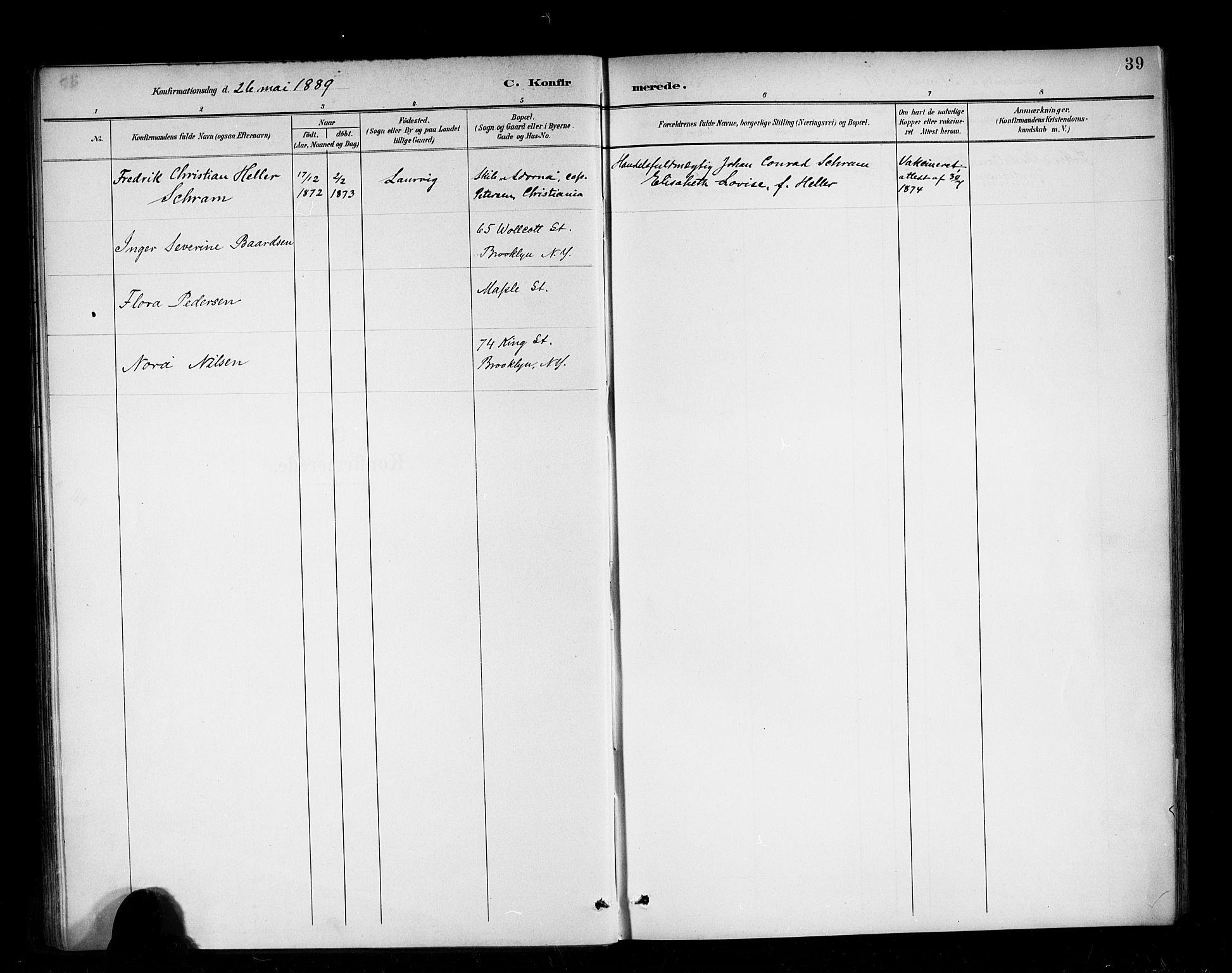 SAB, Den Norske Sjømannsmisjon i utlandet*, Ministerialbok nr. A 3, 1888-1893, s. 39