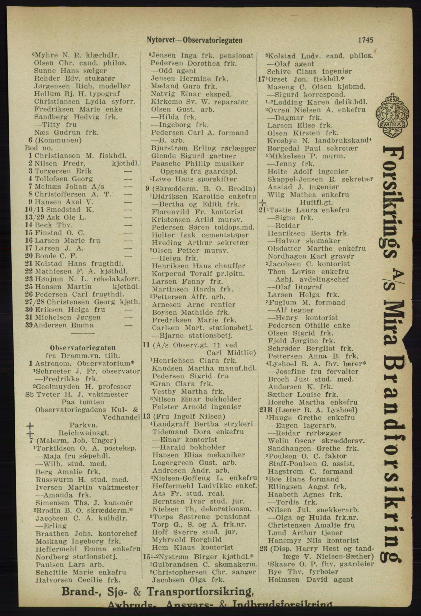 RA, Kristiania adressebok (publikasjon)*, 1918, s. 1745
