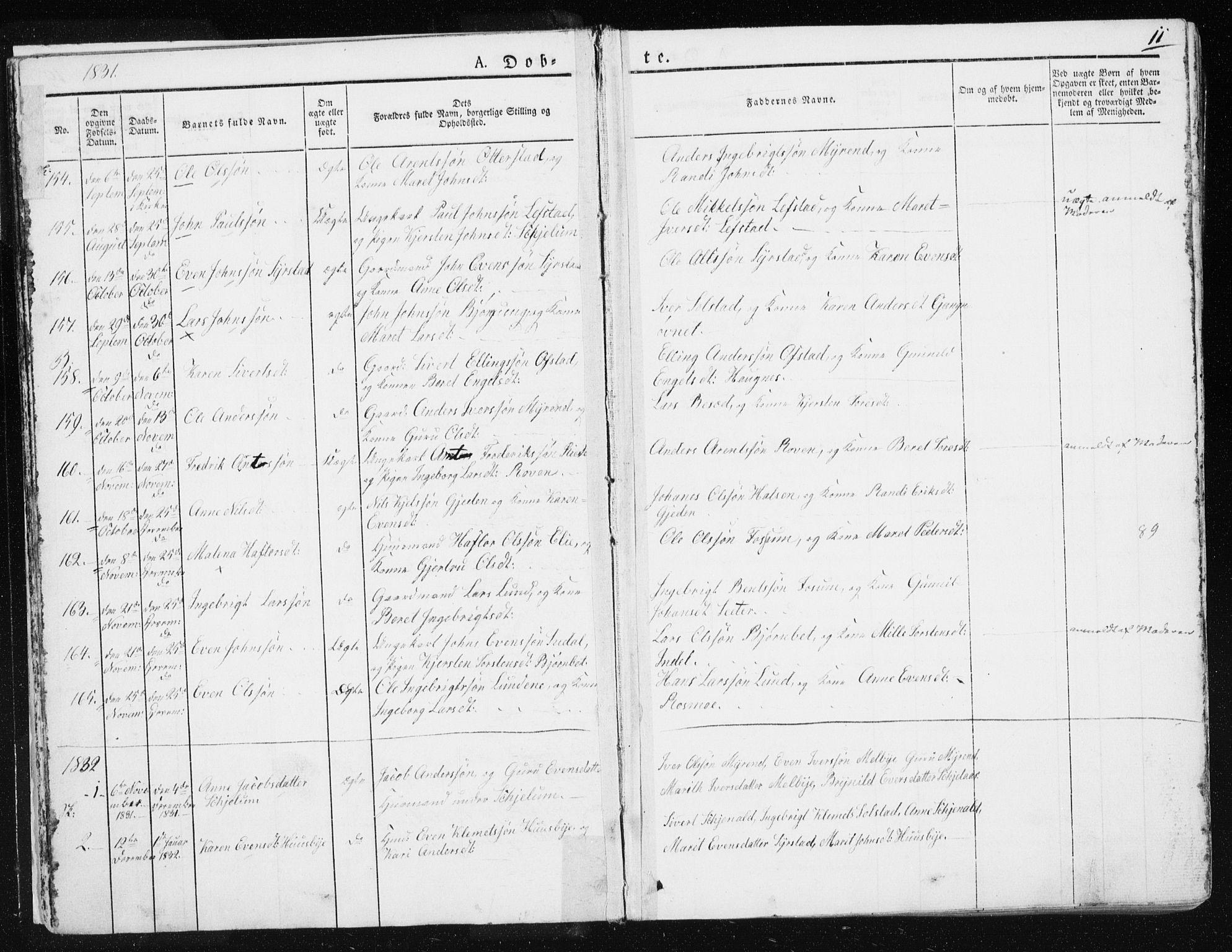 SAT, Ministerialprotokoller, klokkerbøker og fødselsregistre - Sør-Trøndelag, 665/L0771: Ministerialbok nr. 665A06, 1830-1856, s. 11