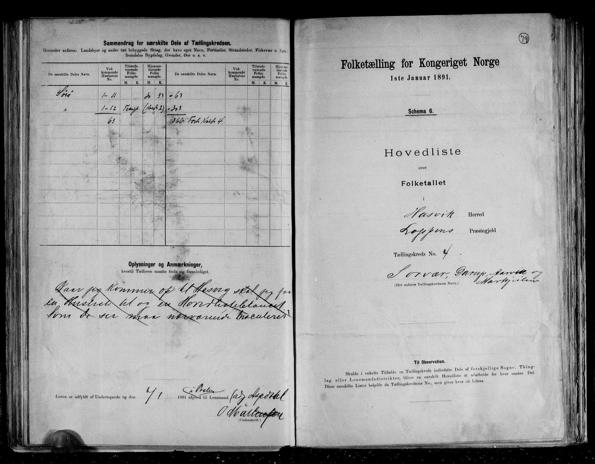 RA, Folketelling 1891 for 2015 Hasvik herred, 1891, s. 11