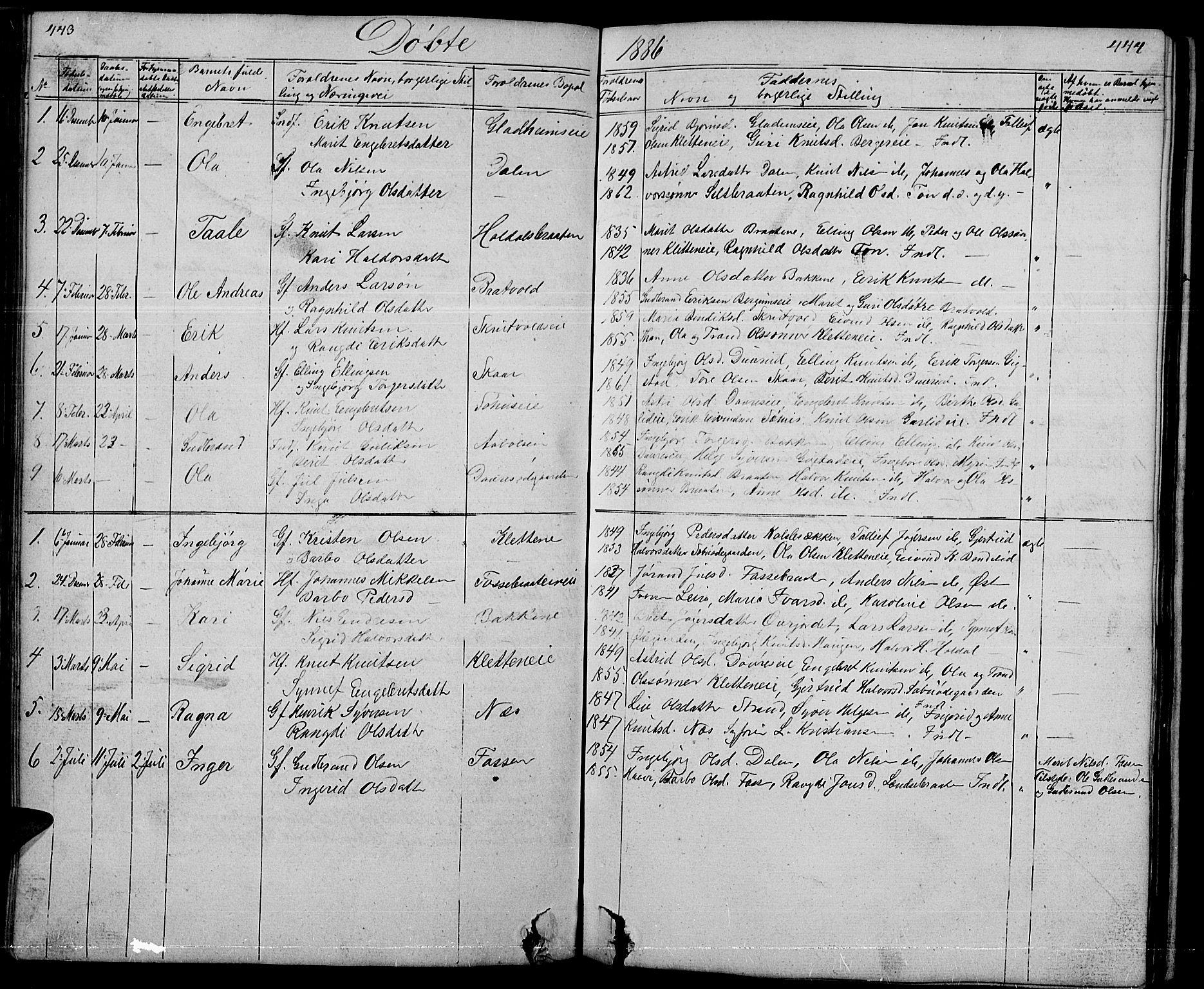 SAH, Nord-Aurdal prestekontor, Klokkerbok nr. 1, 1834-1887, s. 443-444