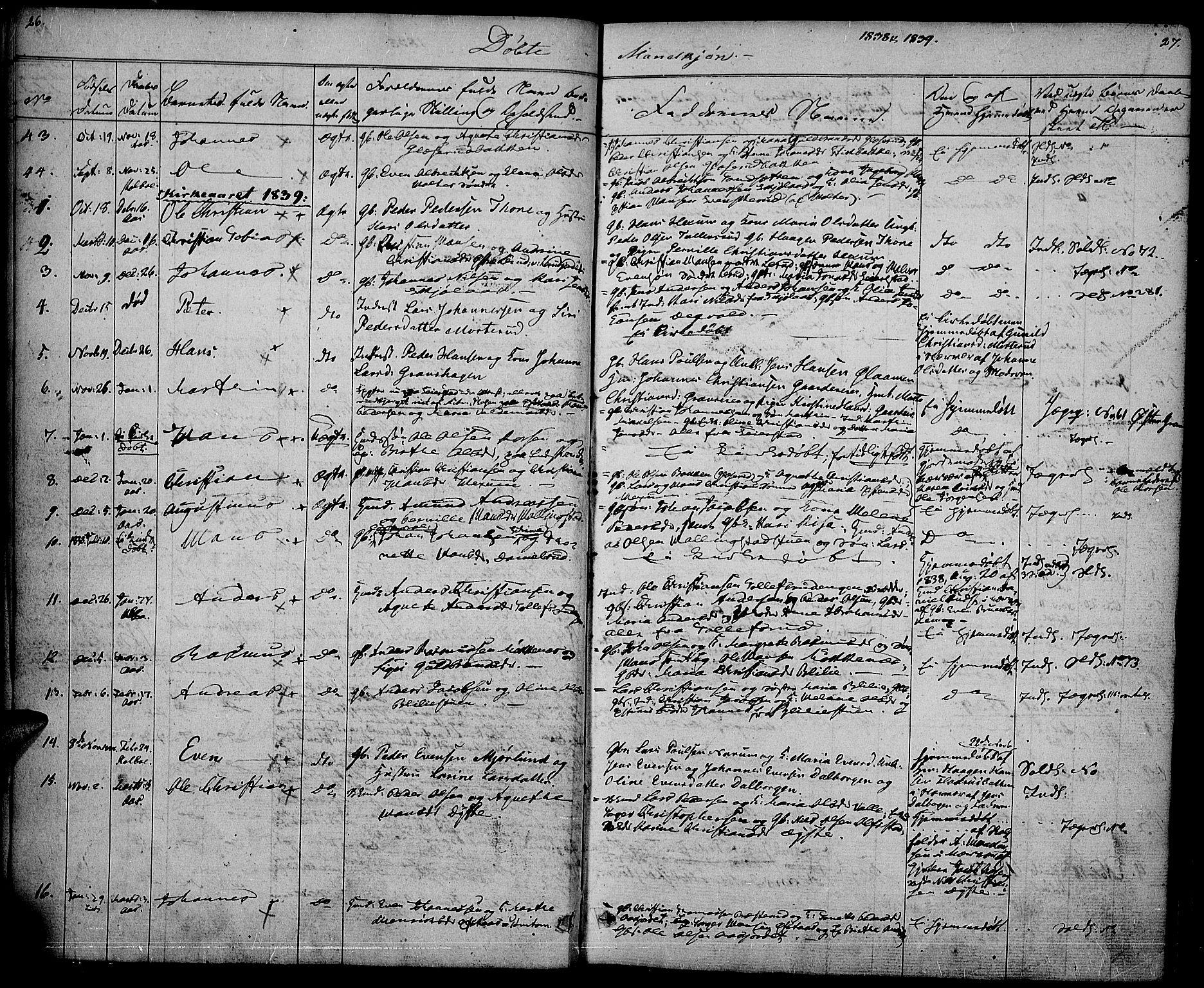 SAH, Vestre Toten prestekontor, Ministerialbok nr. 3, 1836-1843, s. 26-27