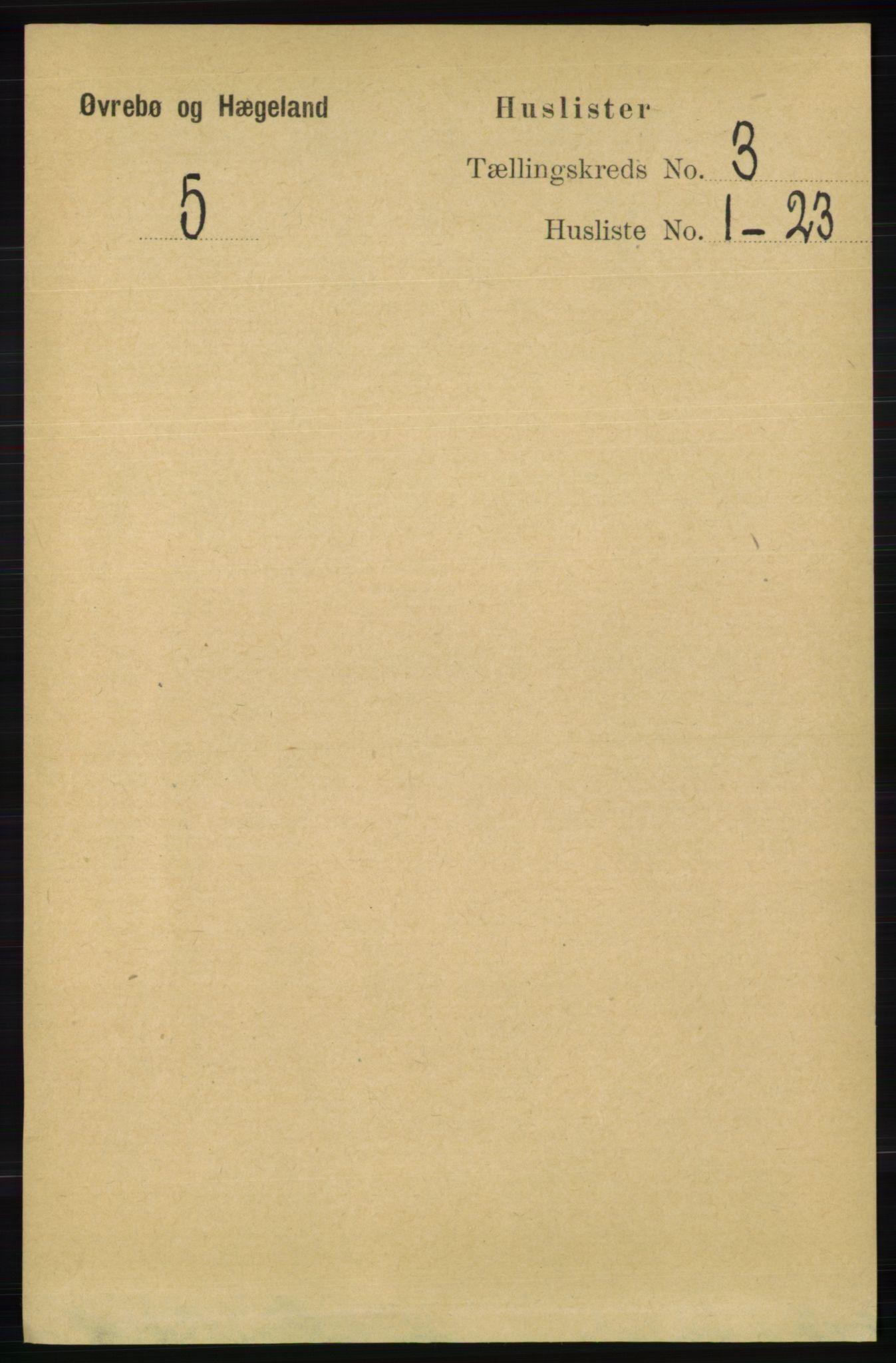 RA, Folketelling 1891 for 1016 Øvrebø og Hægeland herred, 1891, s. 498