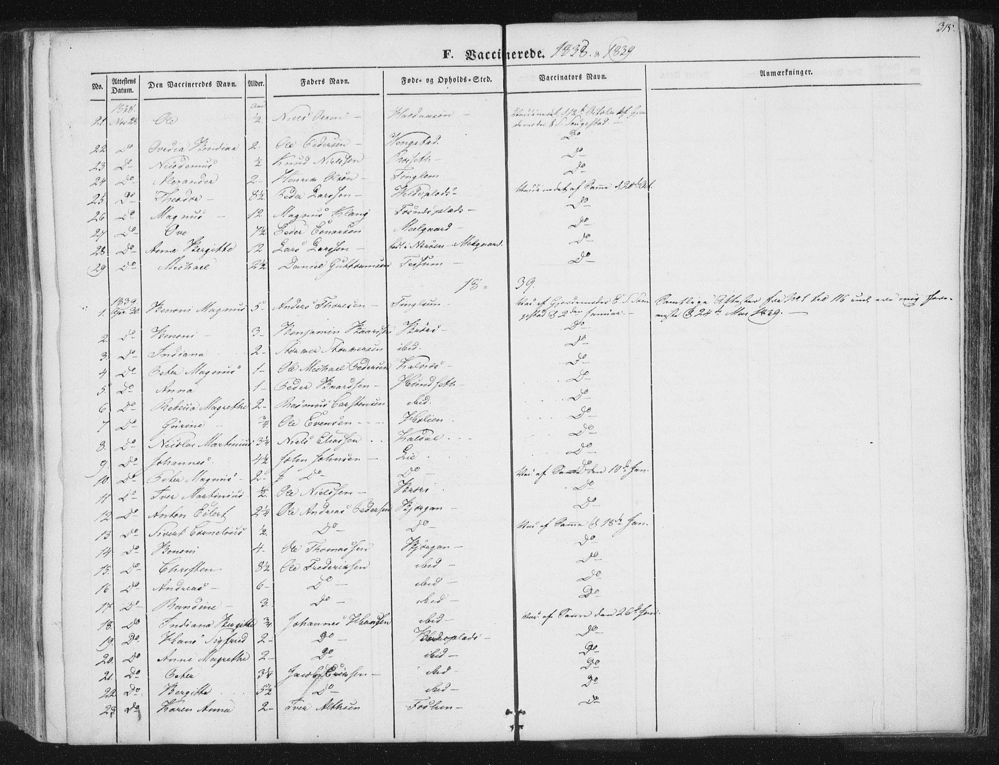 SAT, Ministerialprotokoller, klokkerbøker og fødselsregistre - Nord-Trøndelag, 741/L0392: Ministerialbok nr. 741A06, 1836-1848, s. 315