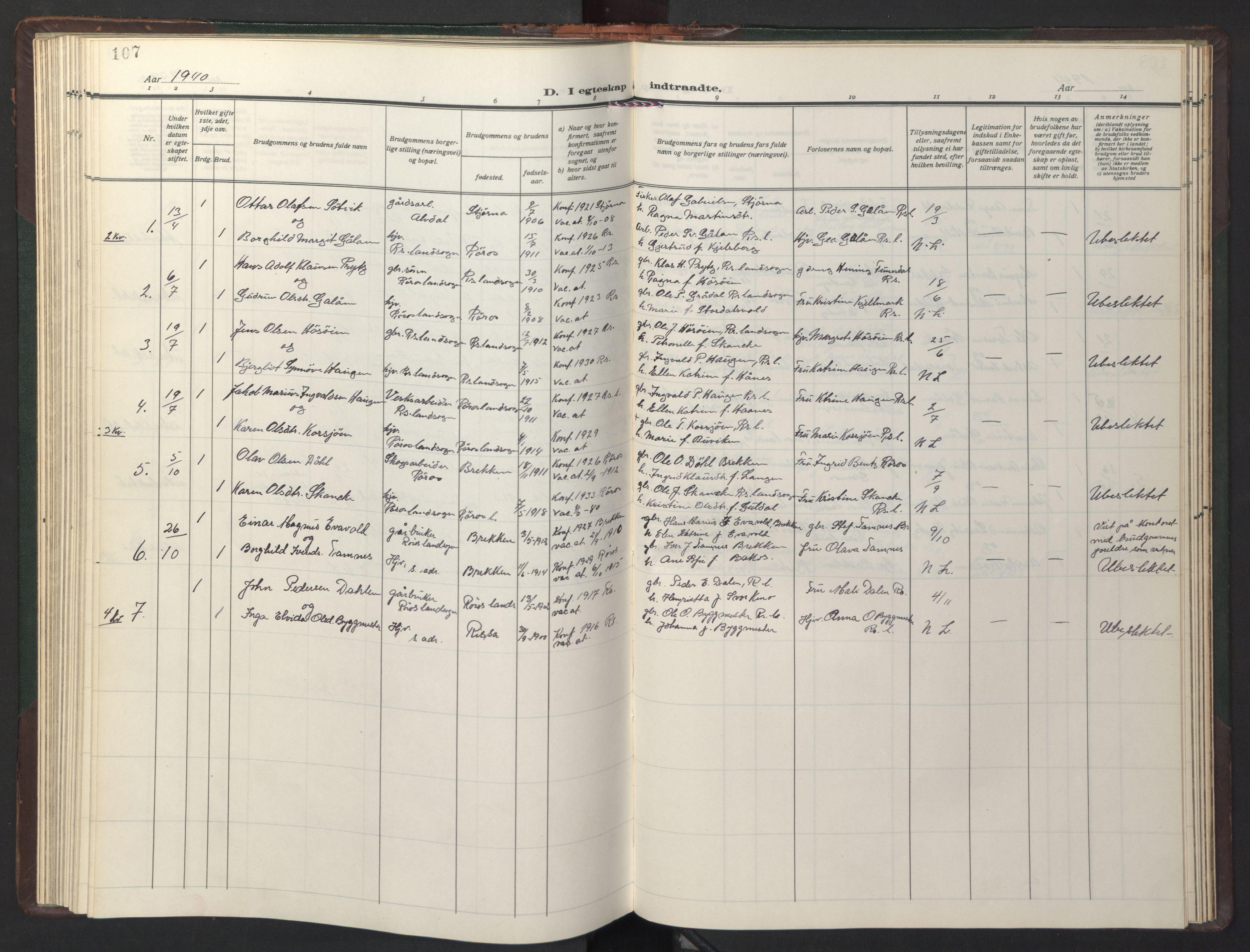 SAT, Ministerialprotokoller, klokkerbøker og fødselsregistre - Sør-Trøndelag, 681/L0944: Klokkerbok nr. 681C08, 1926-1954, s. 107
