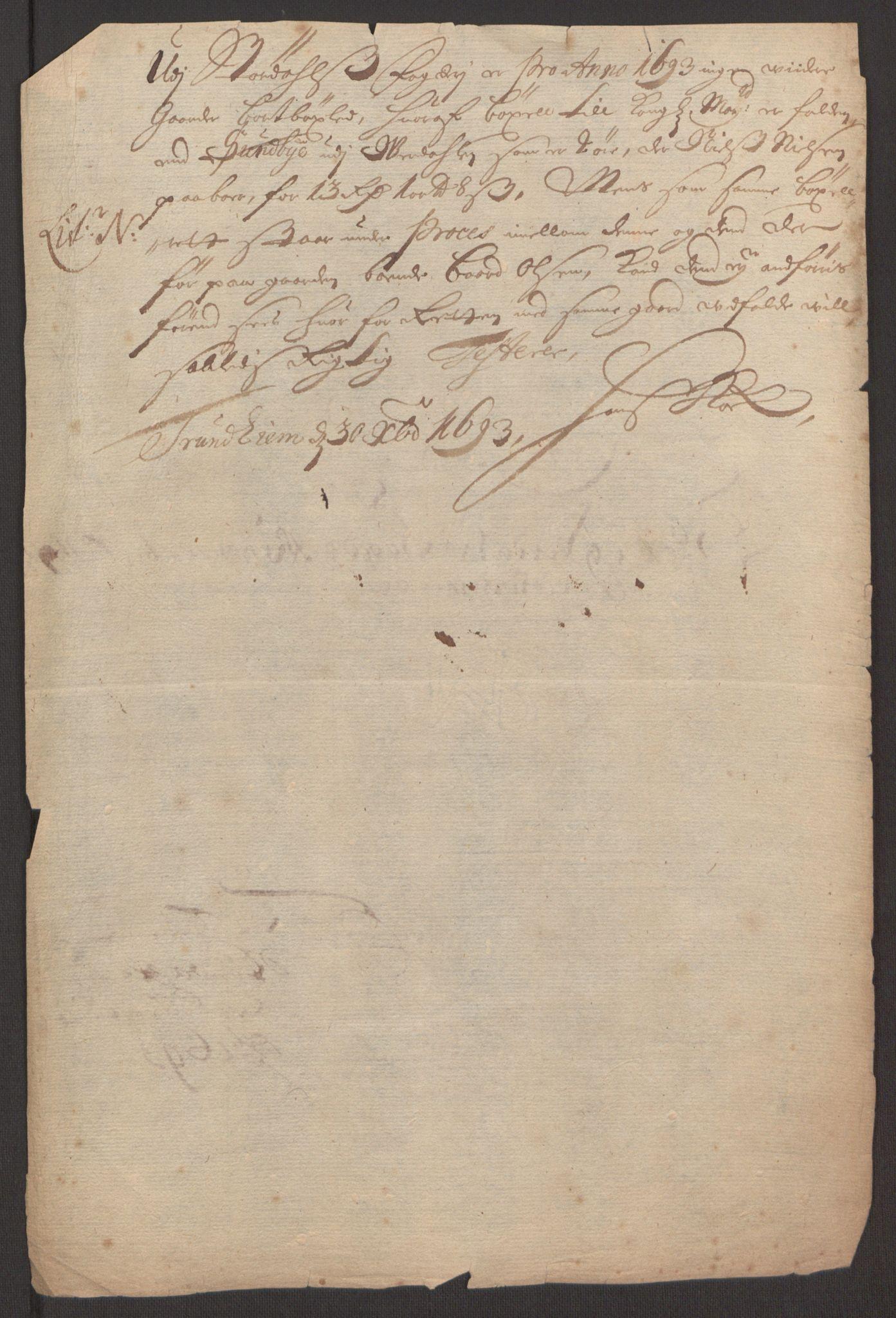 RA, Rentekammeret inntil 1814, Reviderte regnskaper, Fogderegnskap, R62/L4186: Fogderegnskap Stjørdal og Verdal, 1693-1694, s. 135