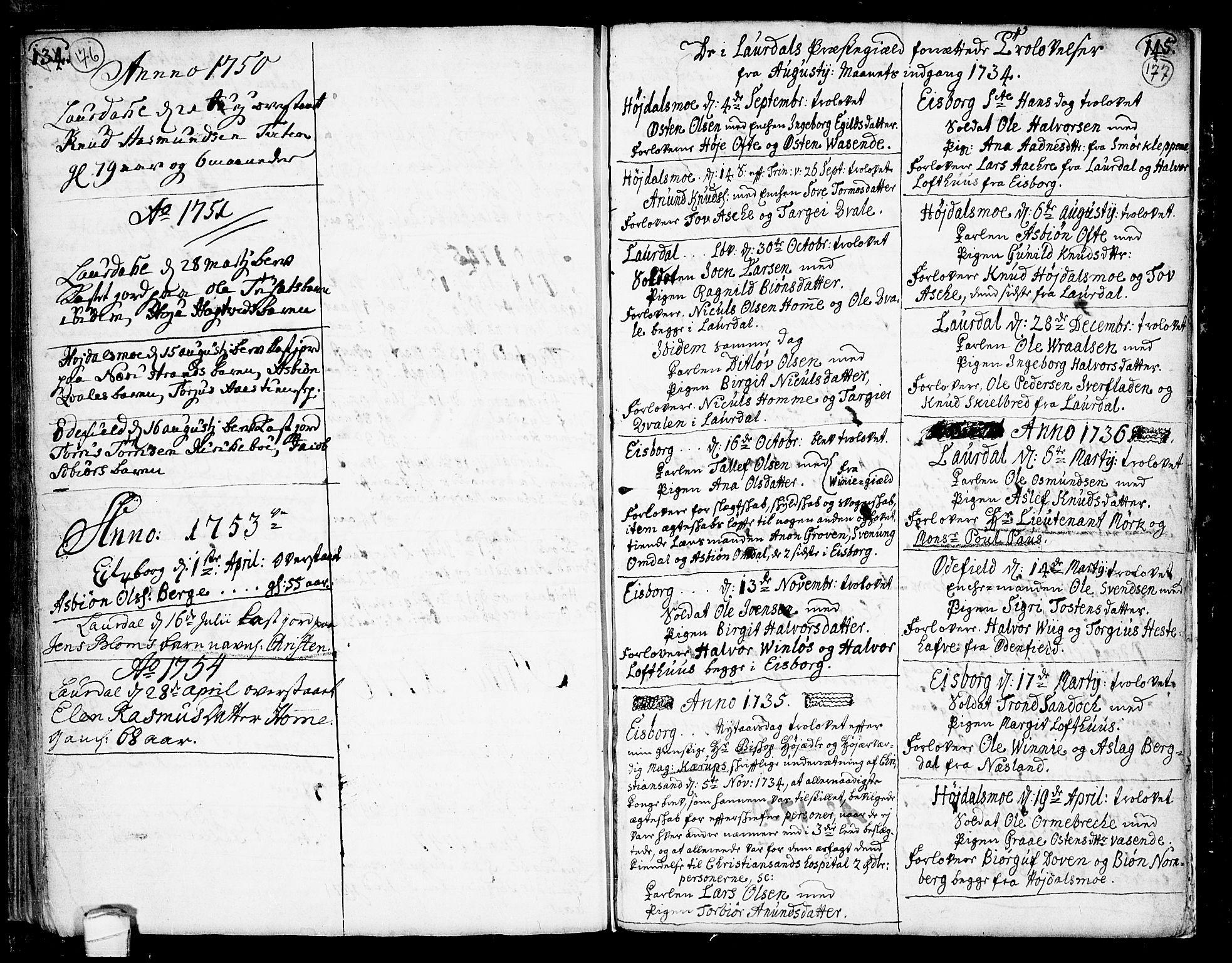 SAKO, Lårdal kirkebøker, F/Fa/L0002: Ministerialbok nr. I 2, 1734-1754, s. 176-177