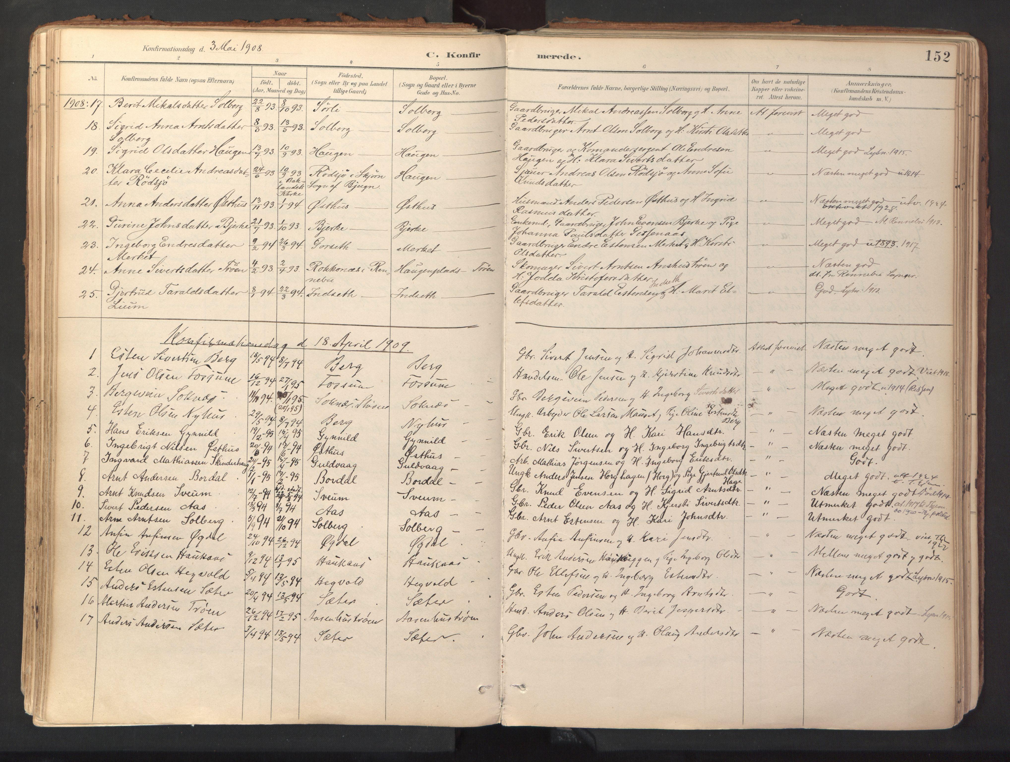 SAT, Ministerialprotokoller, klokkerbøker og fødselsregistre - Sør-Trøndelag, 689/L1041: Ministerialbok nr. 689A06, 1891-1923, s. 152