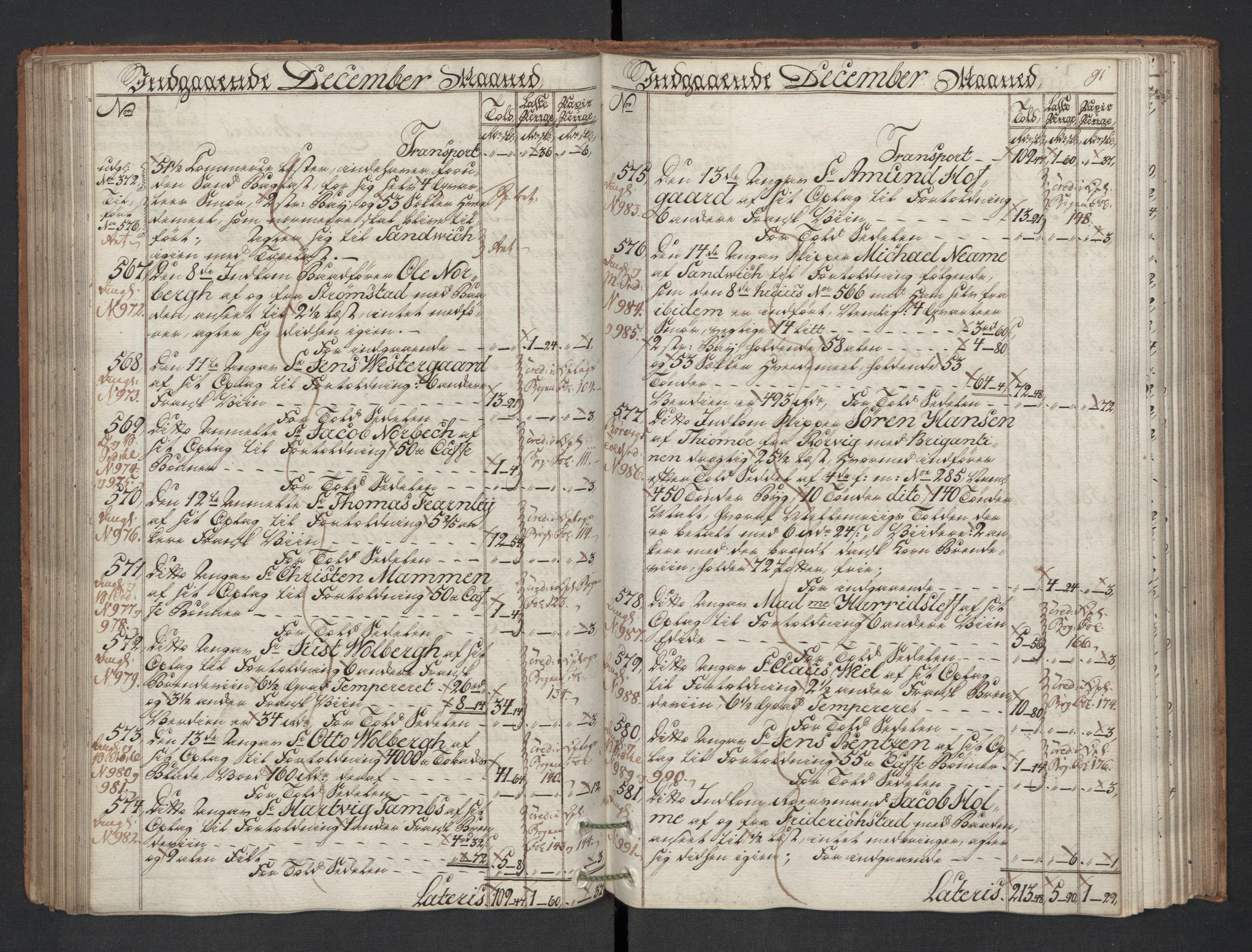 RA, Generaltollkammeret, tollregnskaper, R01/L0130: Tollregnskaper Fredrikshald, 1786, s. 90b-91a