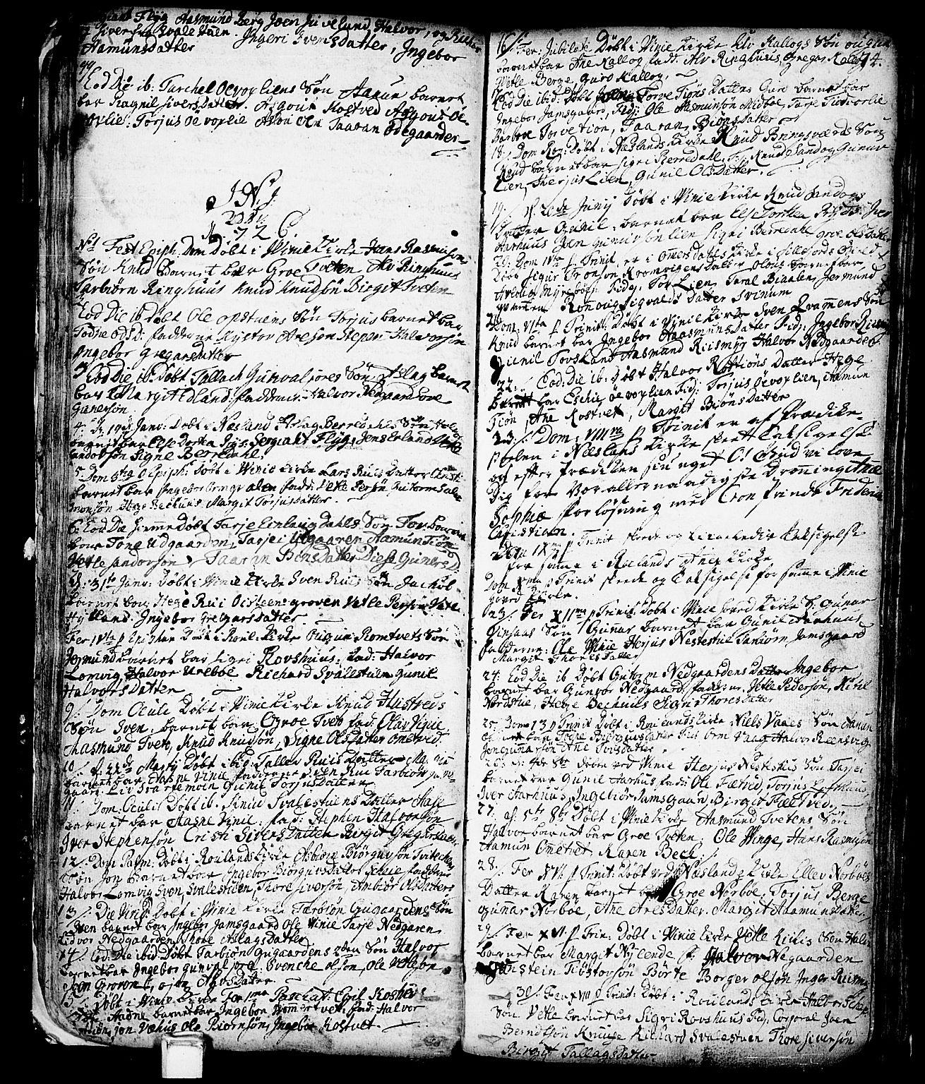 SAKO, Vinje kirkebøker, F/Fa/L0001: Ministerialbok nr. I 1, 1717-1766, s. 74