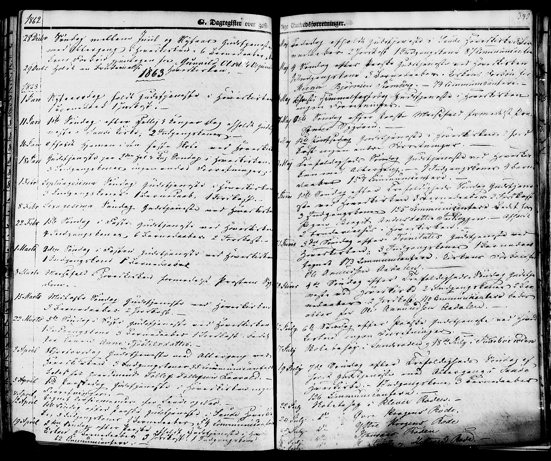 SAKO, Sauherad kirkebøker, F/Fa/L0007: Ministerialbok nr. I 7, 1851-1873, s. 345