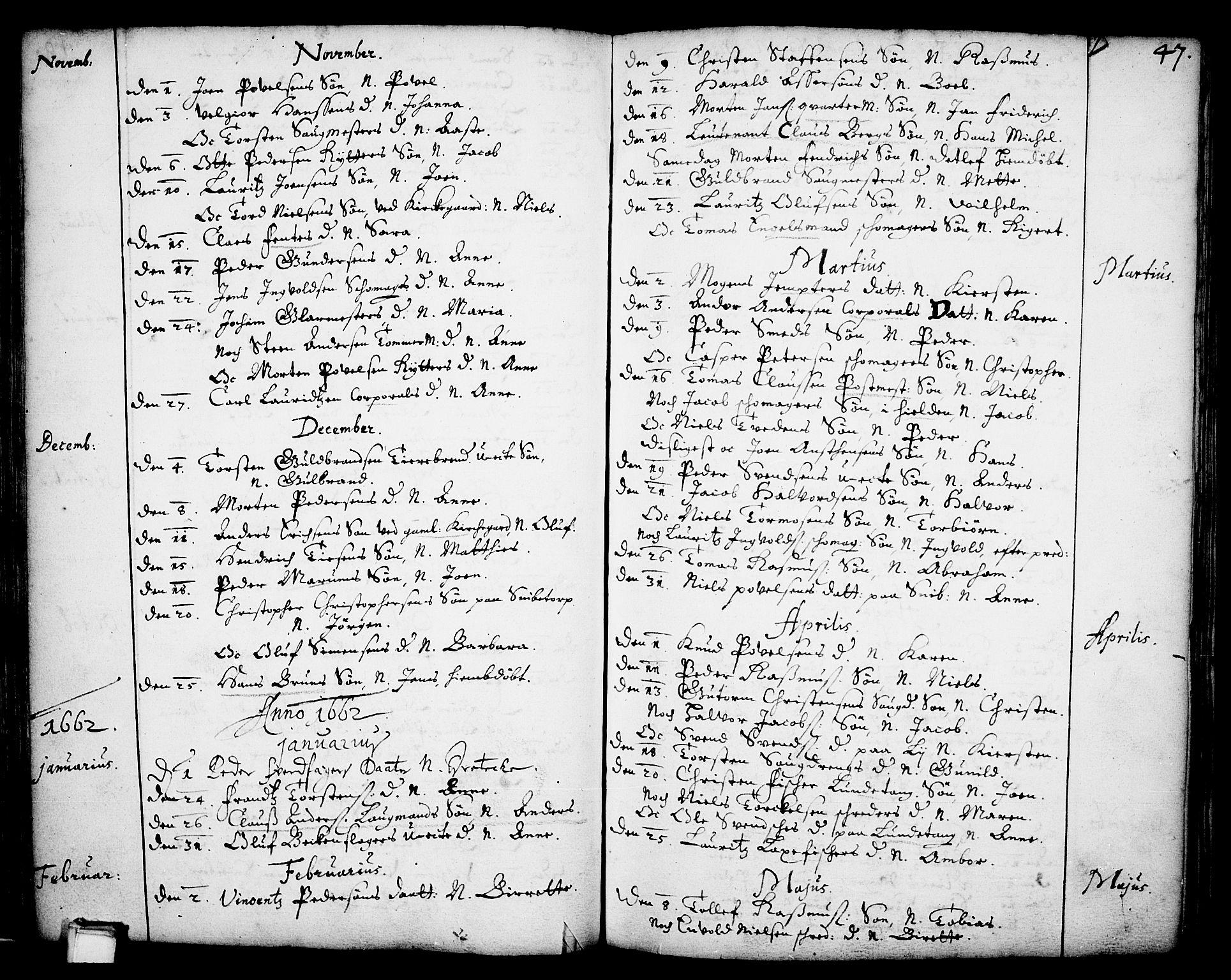 SAKO, Skien kirkebøker, F/Fa/L0001: Ministerialbok nr. 1, 1659-1679, s. 47