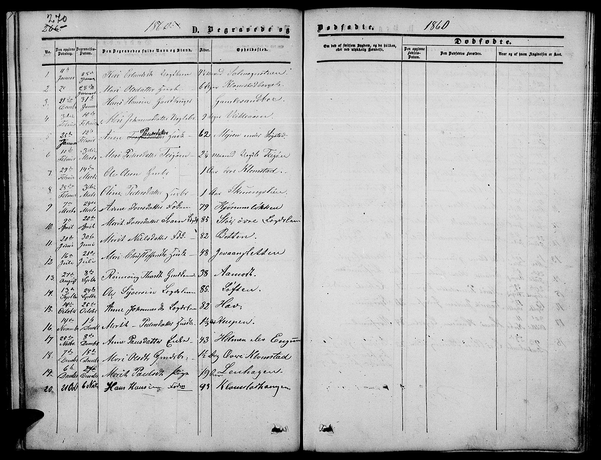 SAH, Nord-Fron prestekontor, Klokkerbok nr. 3, 1851-1886, s. 270