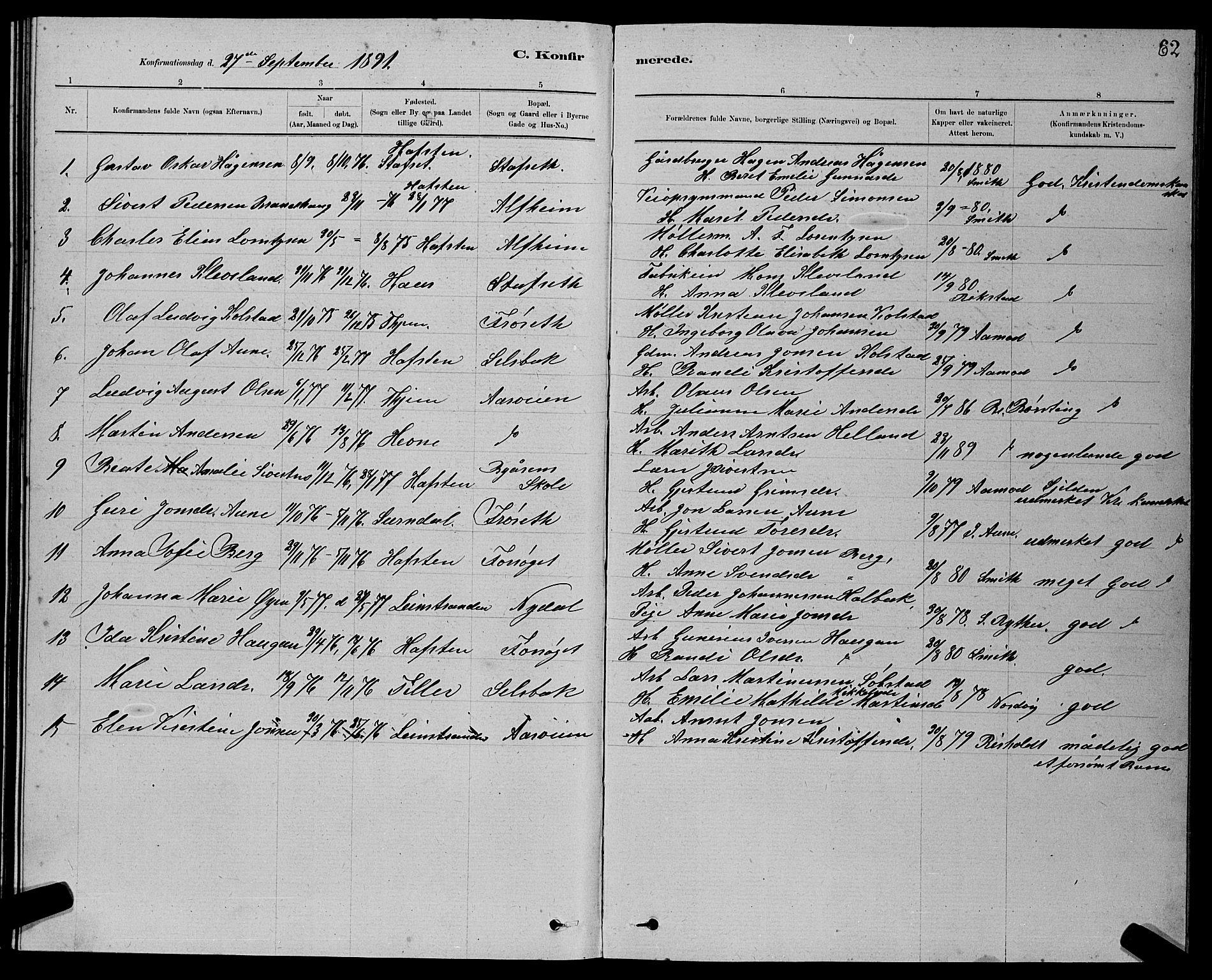 SAT, Ministerialprotokoller, klokkerbøker og fødselsregistre - Sør-Trøndelag, 611/L0354: Klokkerbok nr. 611C02, 1881-1896, s. 62