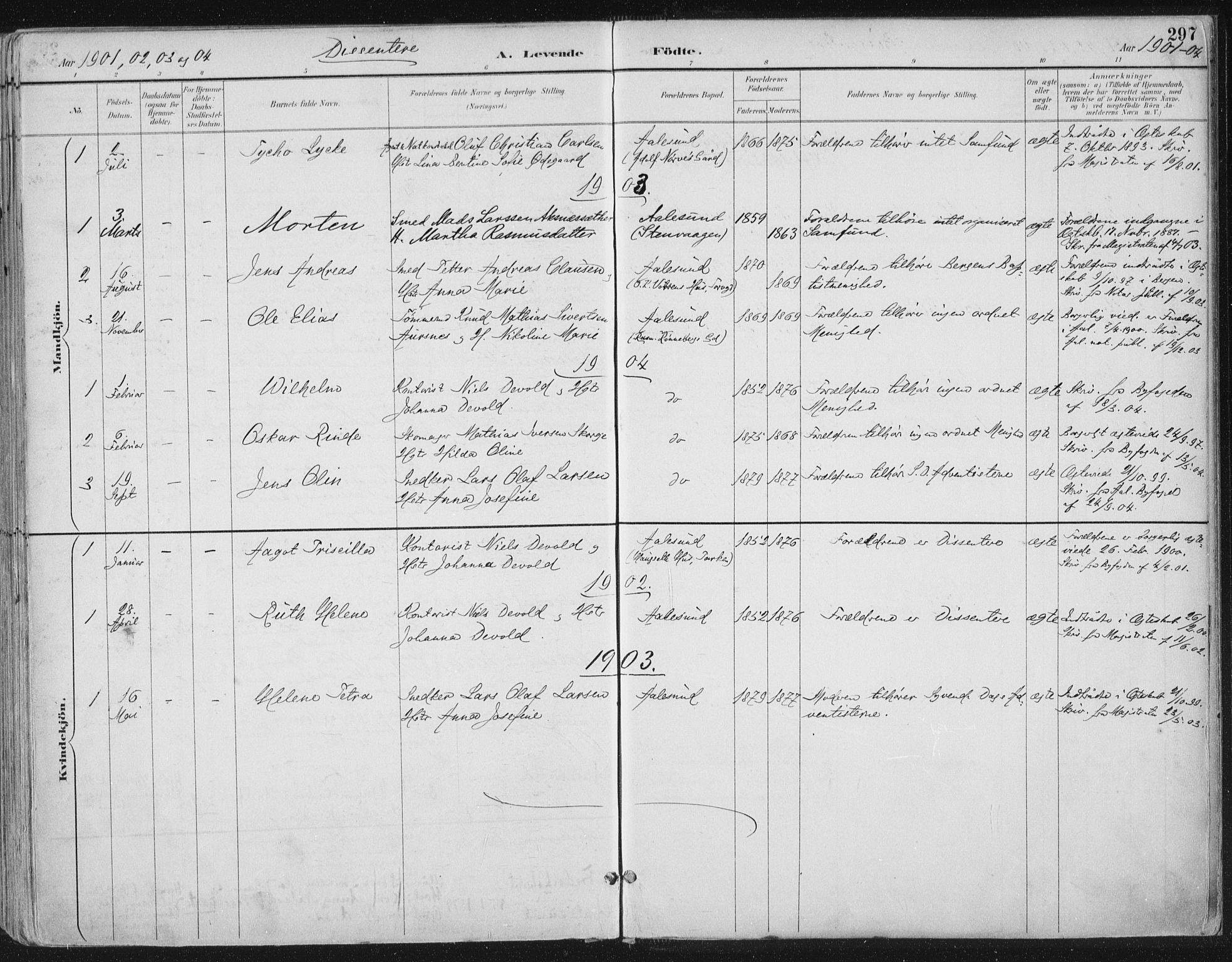 SAT, Ministerialprotokoller, klokkerbøker og fødselsregistre - Møre og Romsdal, 529/L0456: Ministerialbok nr. 529A06, 1894-1906, s. 297