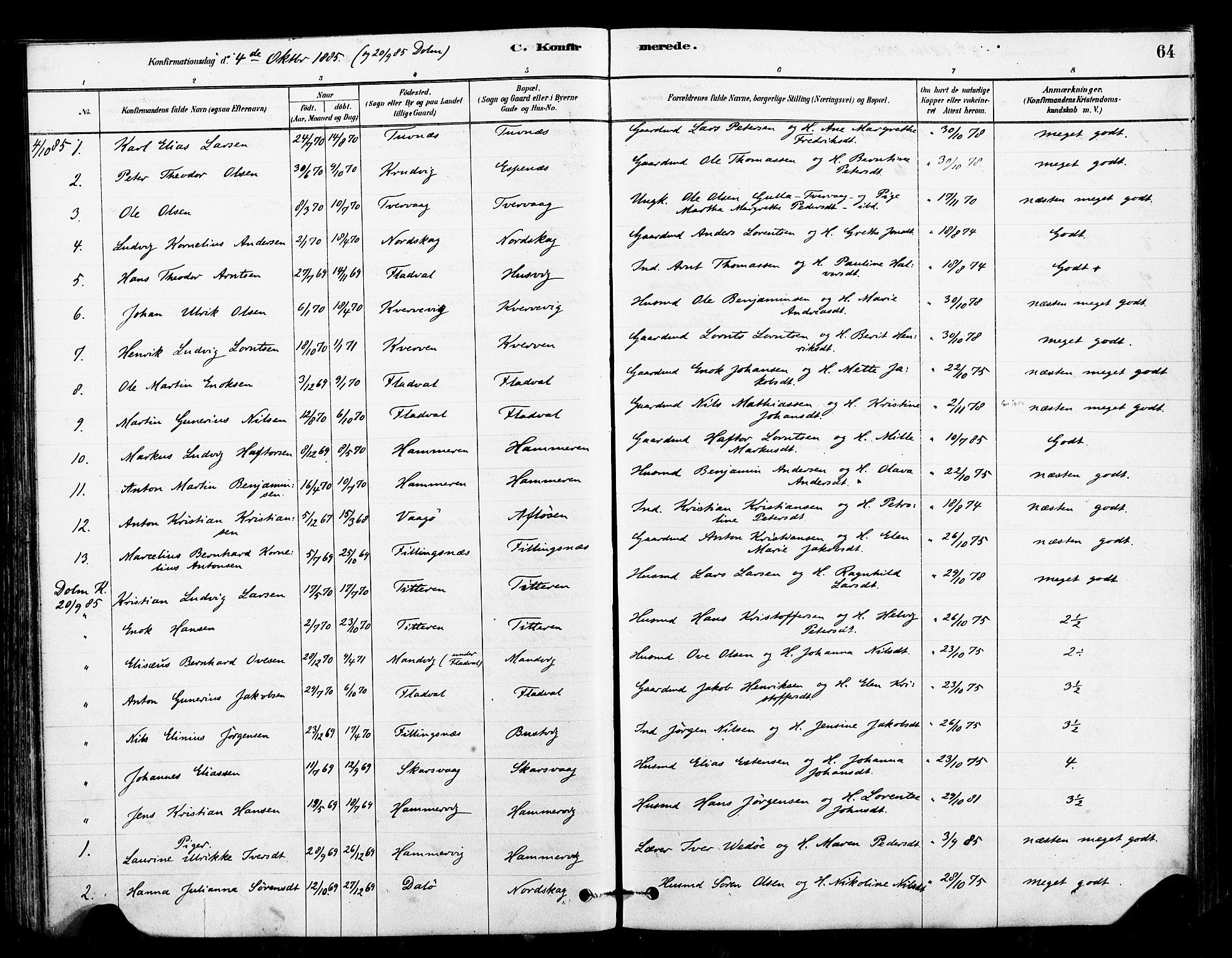 SAT, Ministerialprotokoller, klokkerbøker og fødselsregistre - Sør-Trøndelag, 641/L0595: Ministerialbok nr. 641A01, 1882-1897, s. 64