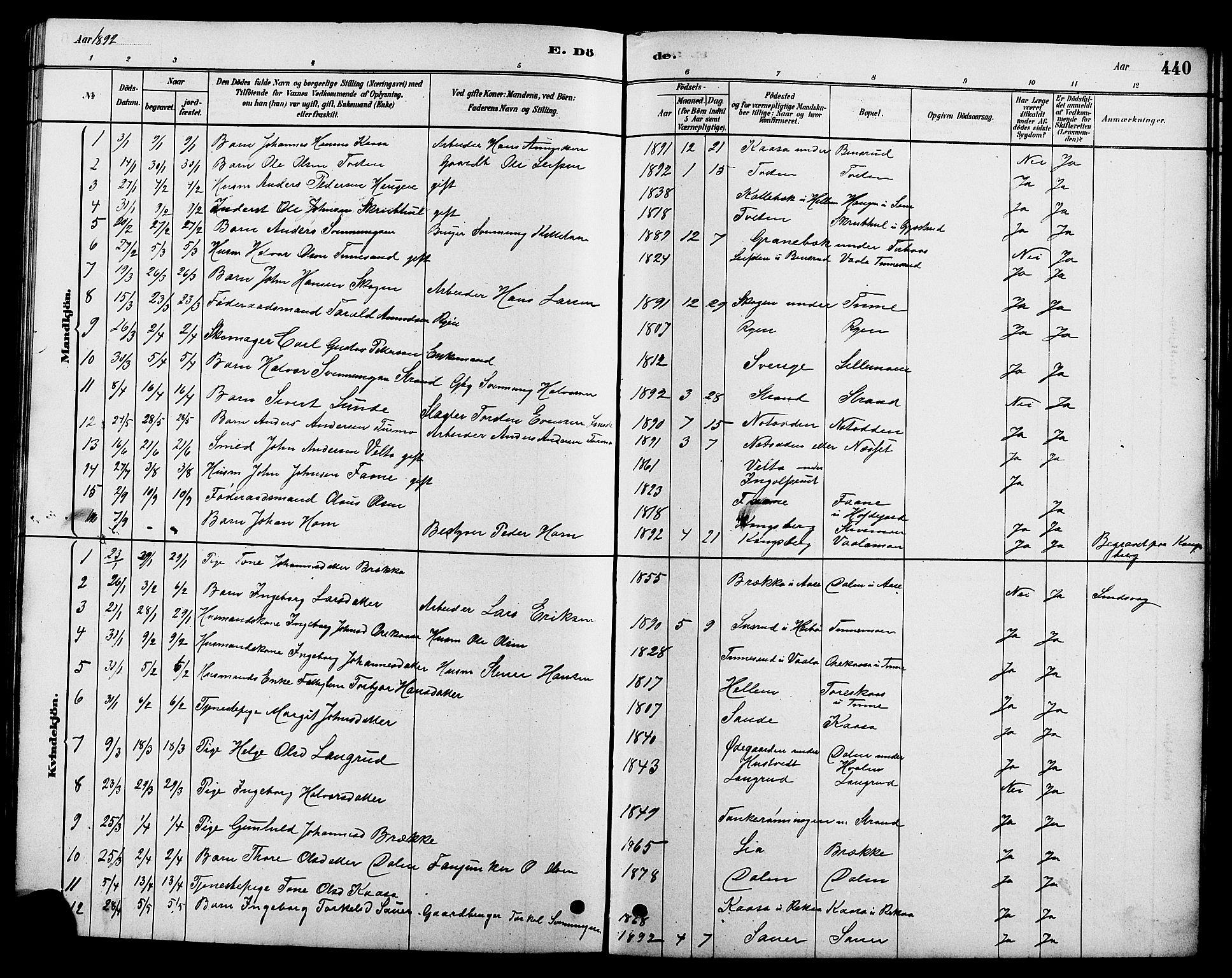 SAKO, Heddal kirkebøker, G/Ga/L0002: Klokkerbok nr. I 2, 1879-1908, s. 440