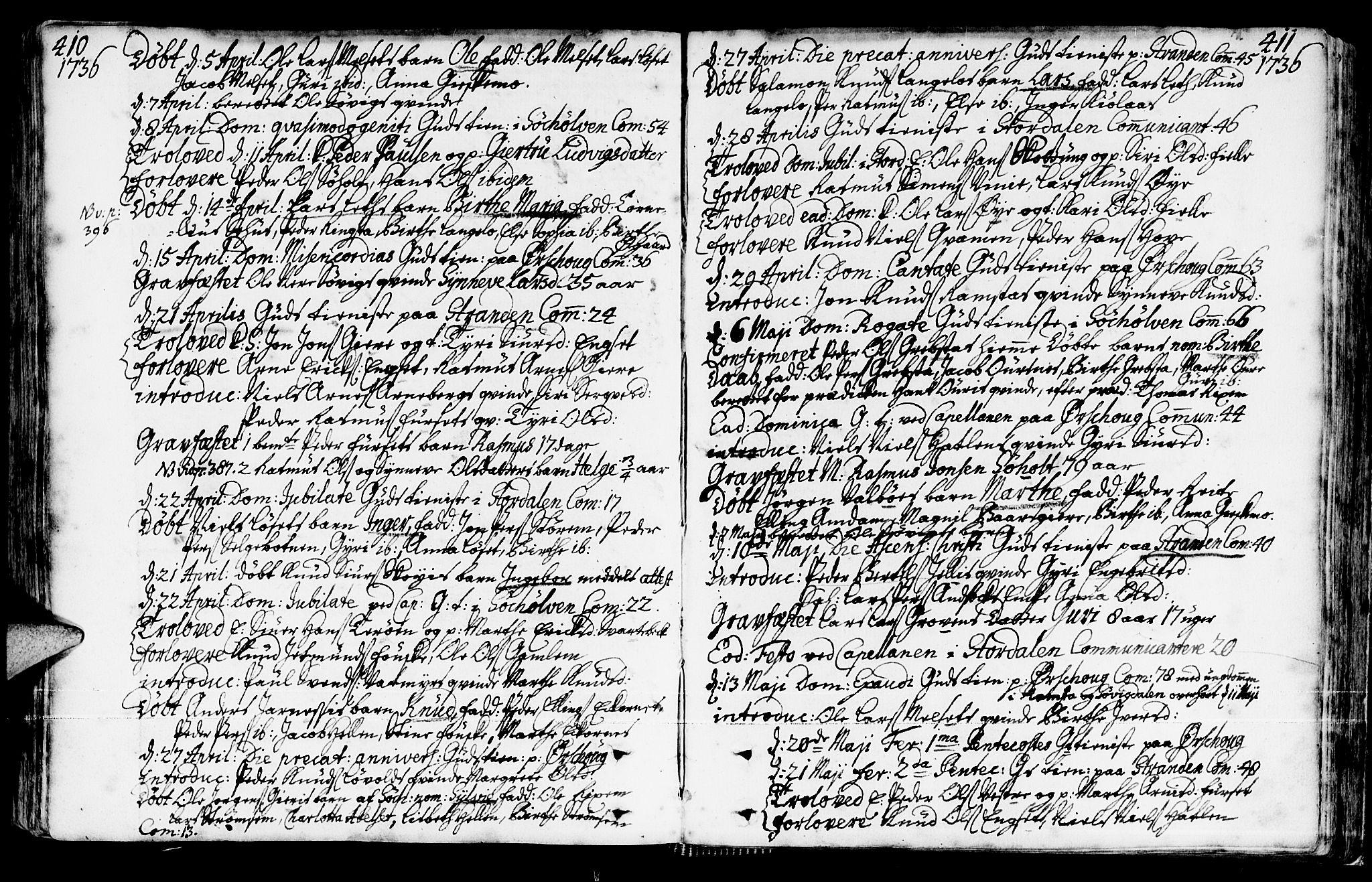 SAT, Ministerialprotokoller, klokkerbøker og fødselsregistre - Møre og Romsdal, 522/L0306: Ministerialbok nr. 522A01, 1720-1743, s. 410-411