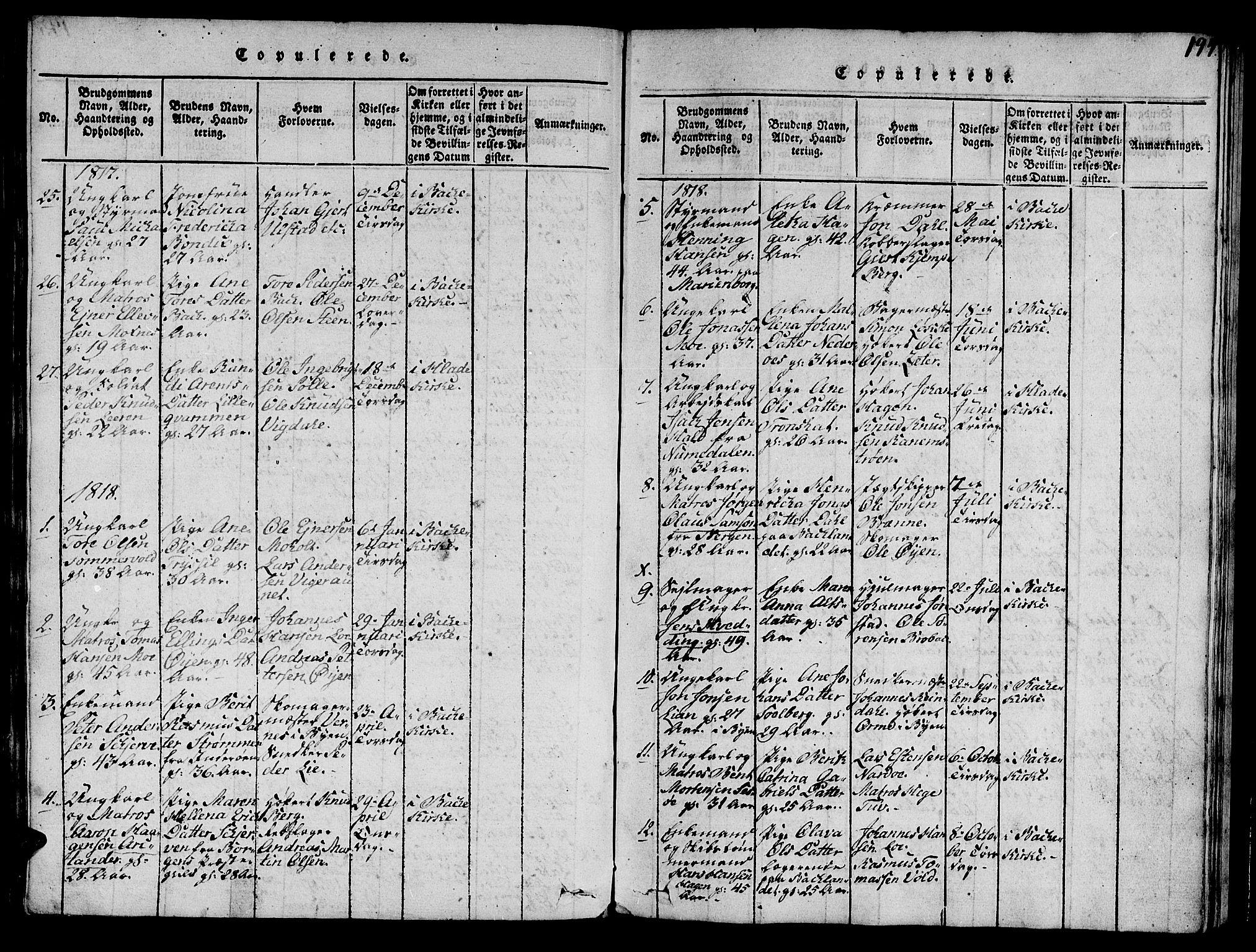 SAT, Ministerialprotokoller, klokkerbøker og fødselsregistre - Sør-Trøndelag, 606/L0307: Klokkerbok nr. 606C03, 1817-1824, s. 194