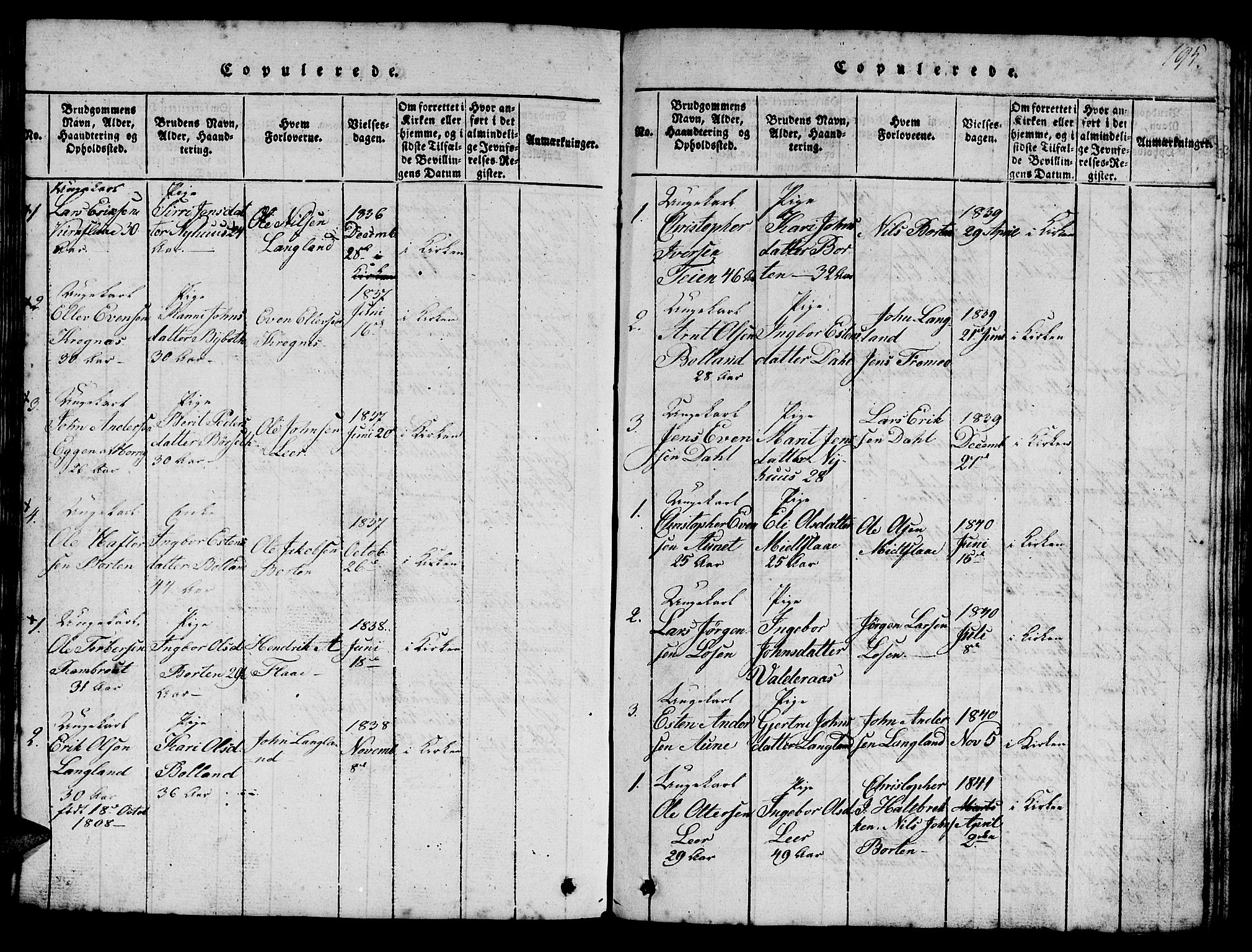SAT, Ministerialprotokoller, klokkerbøker og fødselsregistre - Sør-Trøndelag, 693/L1121: Klokkerbok nr. 693C02, 1816-1869, s. 195