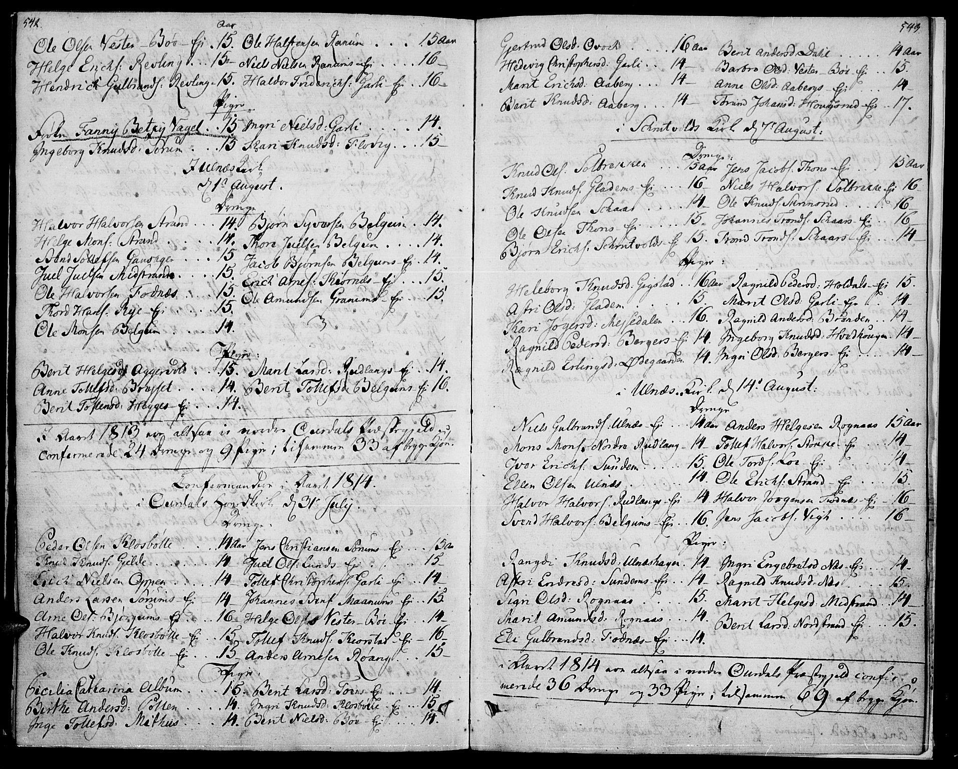 SAH, Nord-Aurdal prestekontor, Ministerialbok nr. 1, 1808-1815, s. 542-543