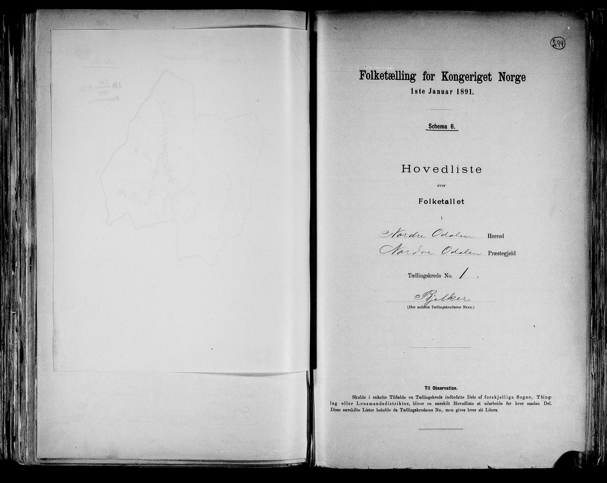 RA, Folketelling 1891 for 0418 Nord-Odal herred, 1891, s. 6
