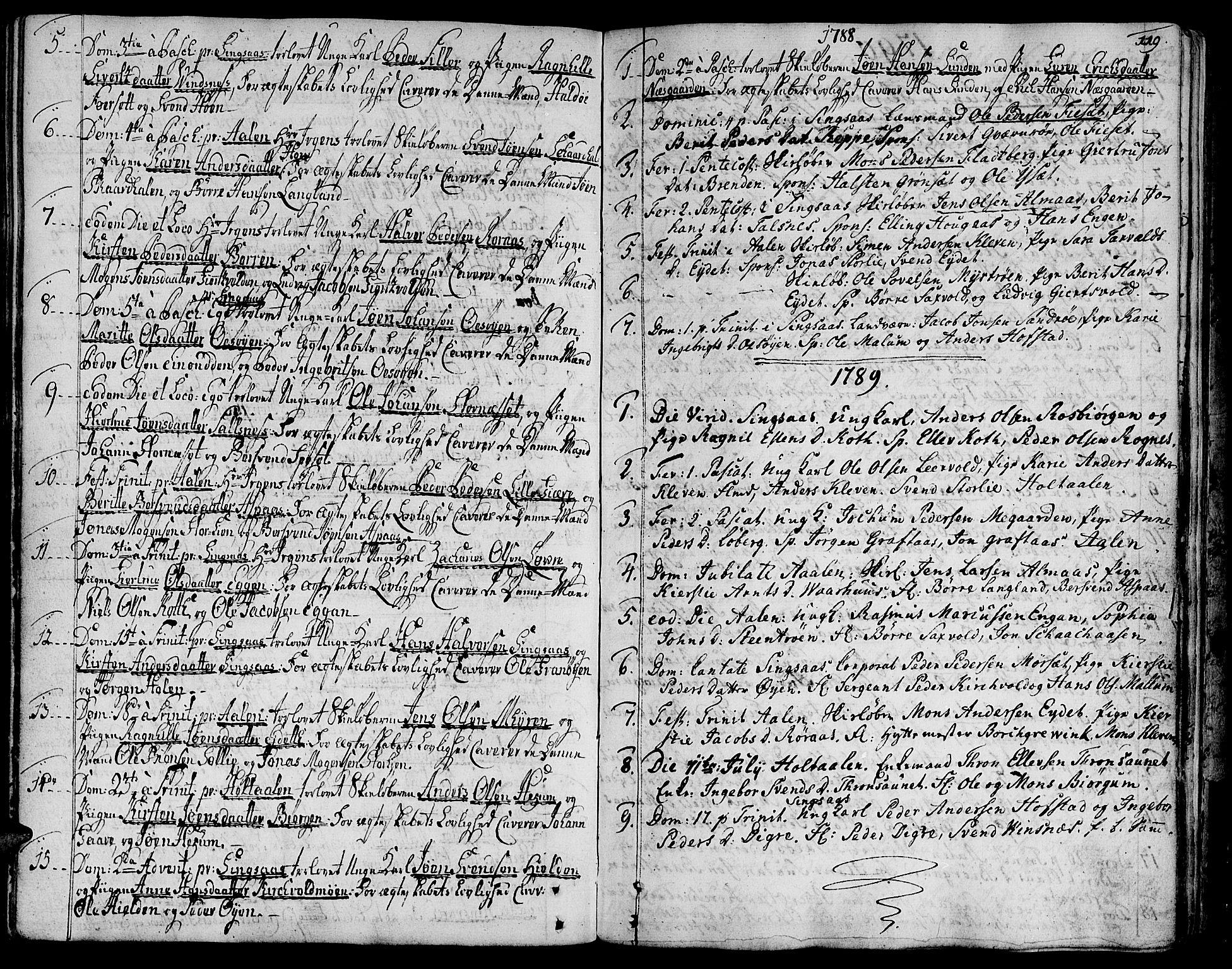 SAT, Ministerialprotokoller, klokkerbøker og fødselsregistre - Sør-Trøndelag, 685/L0952: Ministerialbok nr. 685A01, 1745-1804, s. 119
