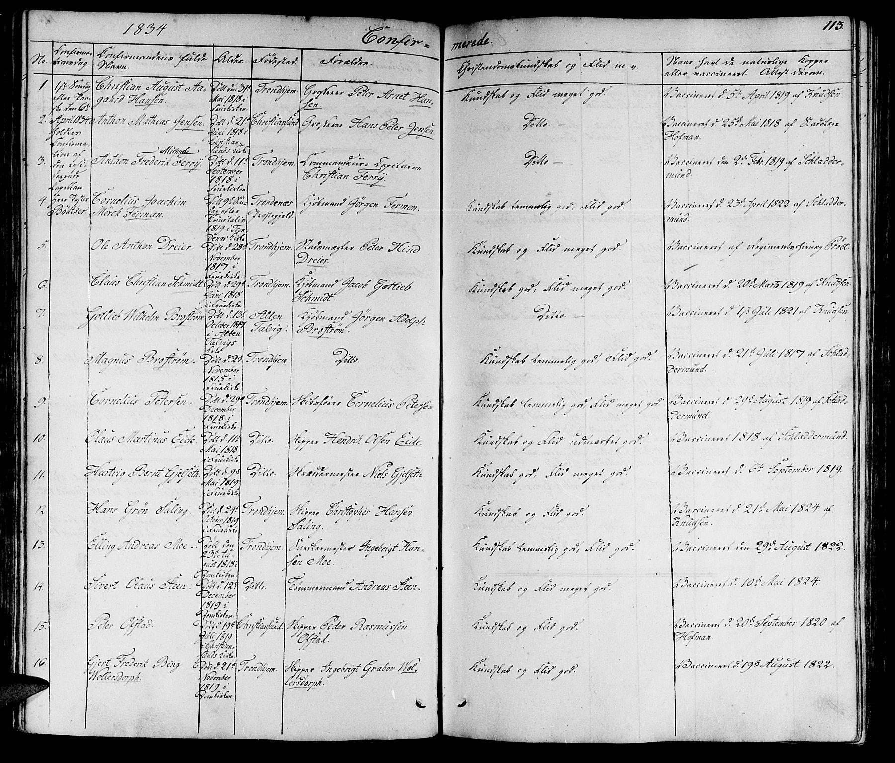 SAT, Ministerialprotokoller, klokkerbøker og fødselsregistre - Sør-Trøndelag, 602/L0136: Klokkerbok nr. 602C04, 1833-1845, s. 113