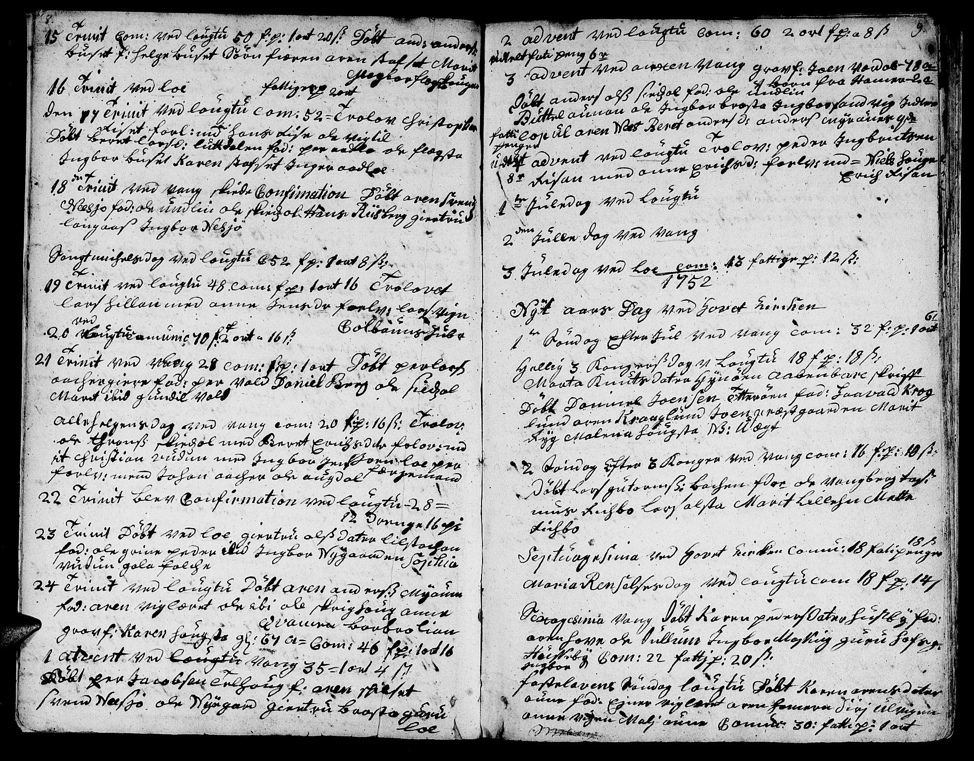 SAT, Ministerialprotokoller, klokkerbøker og fødselsregistre - Nord-Trøndelag, 713/L0109: Ministerialbok nr. 713A01, 1750-1778, s. 8-9