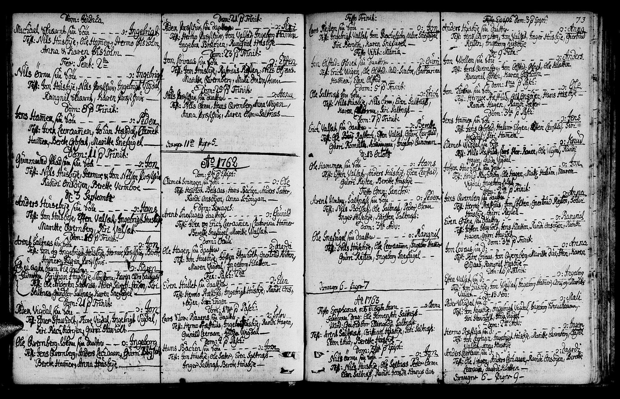 SAT, Ministerialprotokoller, klokkerbøker og fødselsregistre - Sør-Trøndelag, 666/L0784: Ministerialbok nr. 666A02, 1754-1802, s. 73