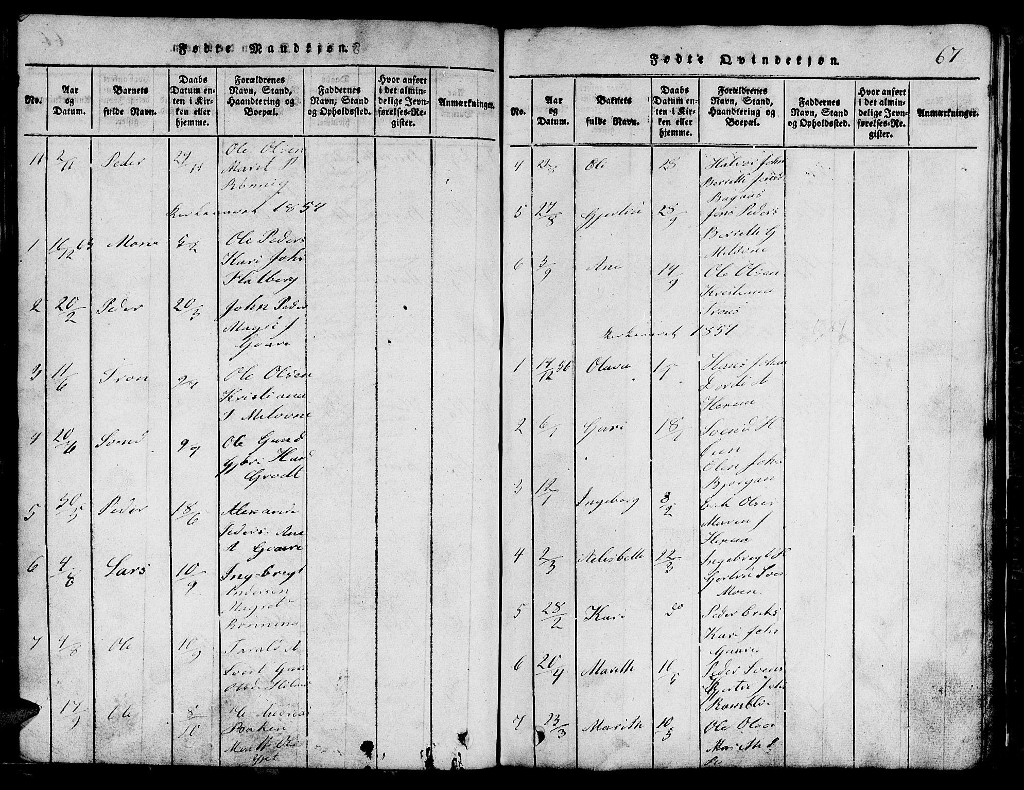 SAT, Ministerialprotokoller, klokkerbøker og fødselsregistre - Sør-Trøndelag, 685/L0976: Klokkerbok nr. 685C01, 1817-1878, s. 67