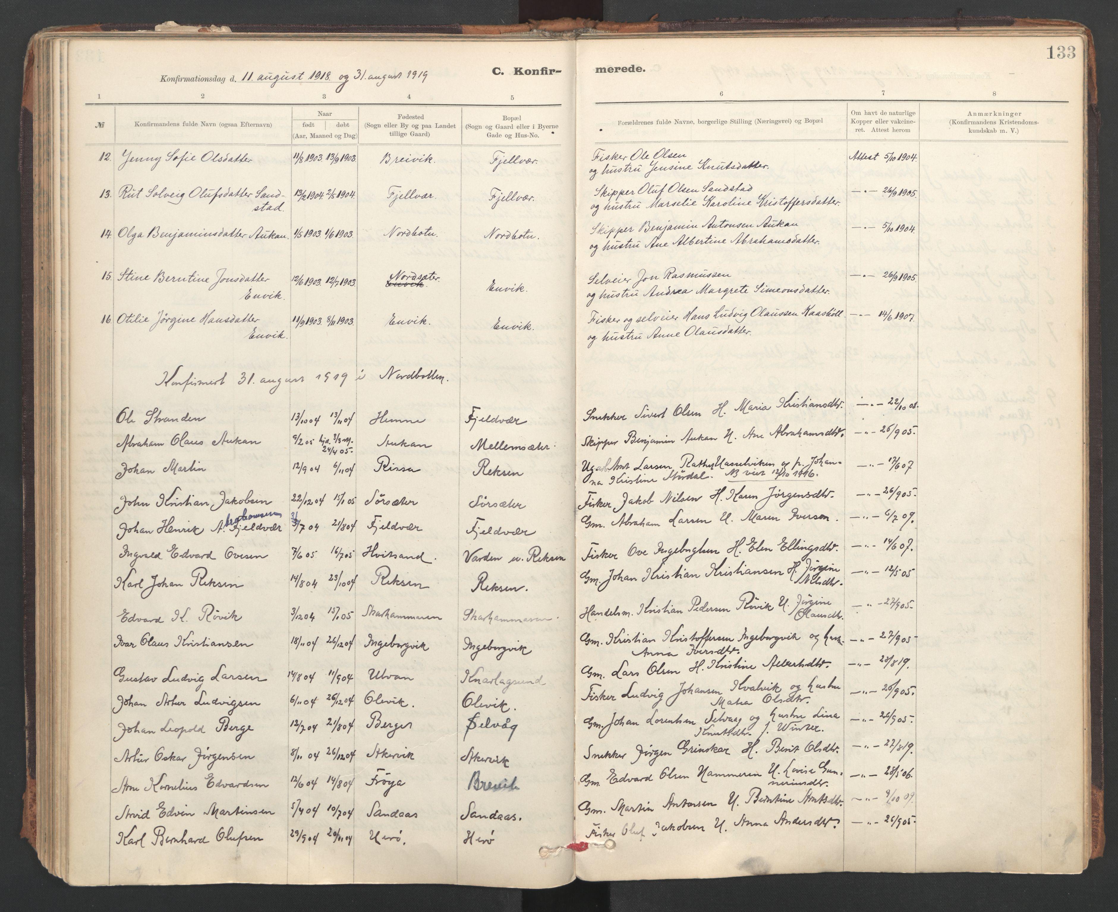 SAT, Ministerialprotokoller, klokkerbøker og fødselsregistre - Sør-Trøndelag, 637/L0559: Ministerialbok nr. 637A02, 1899-1923, s. 133