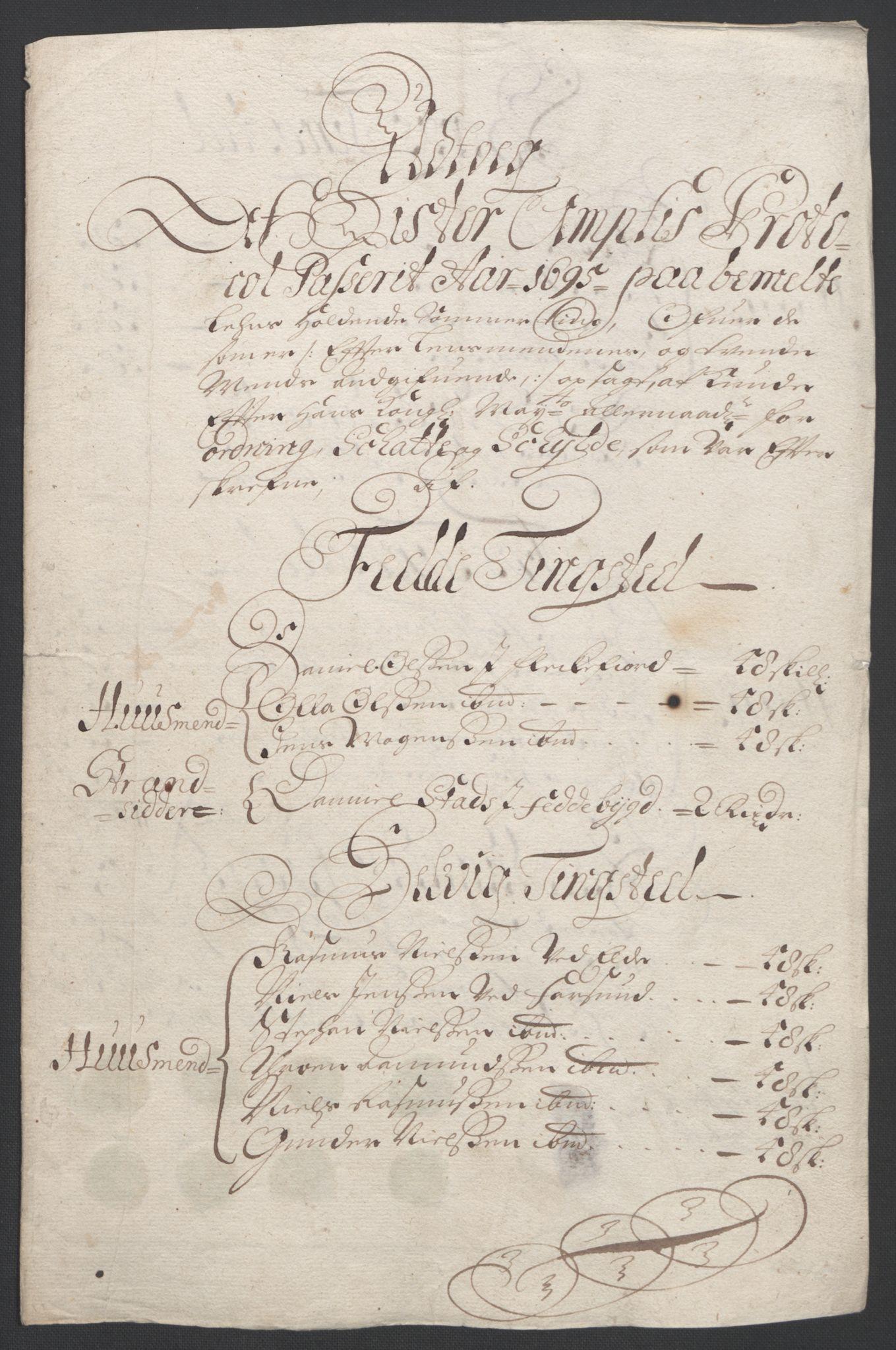RA, Rentekammeret inntil 1814, Reviderte regnskaper, Fogderegnskap, R43/L2545: Fogderegnskap Lista og Mandal, 1694-1695, s. 225