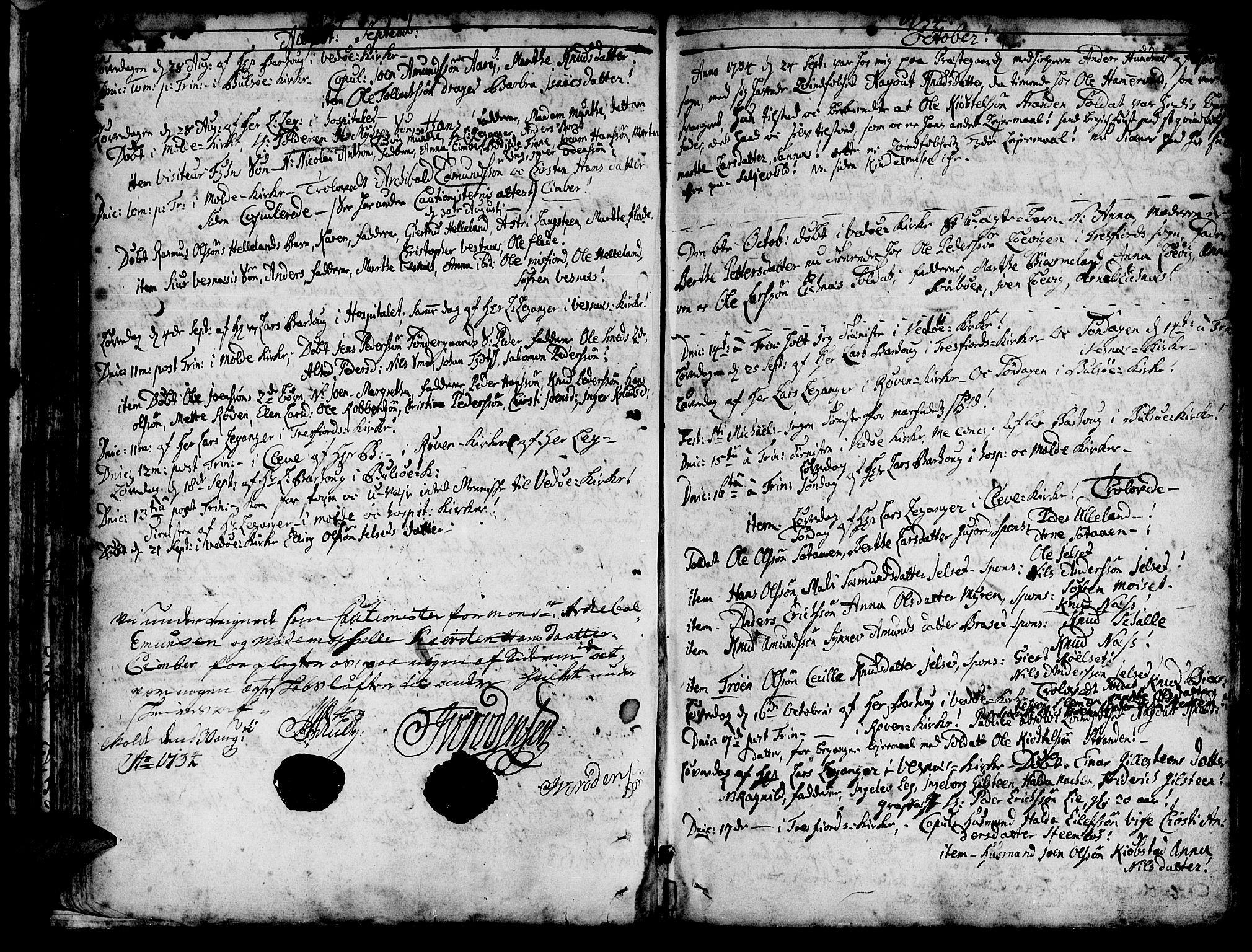 SAT, Ministerialprotokoller, klokkerbøker og fødselsregistre - Møre og Romsdal, 547/L0599: Ministerialbok nr. 547A01, 1721-1764, s. 146-147