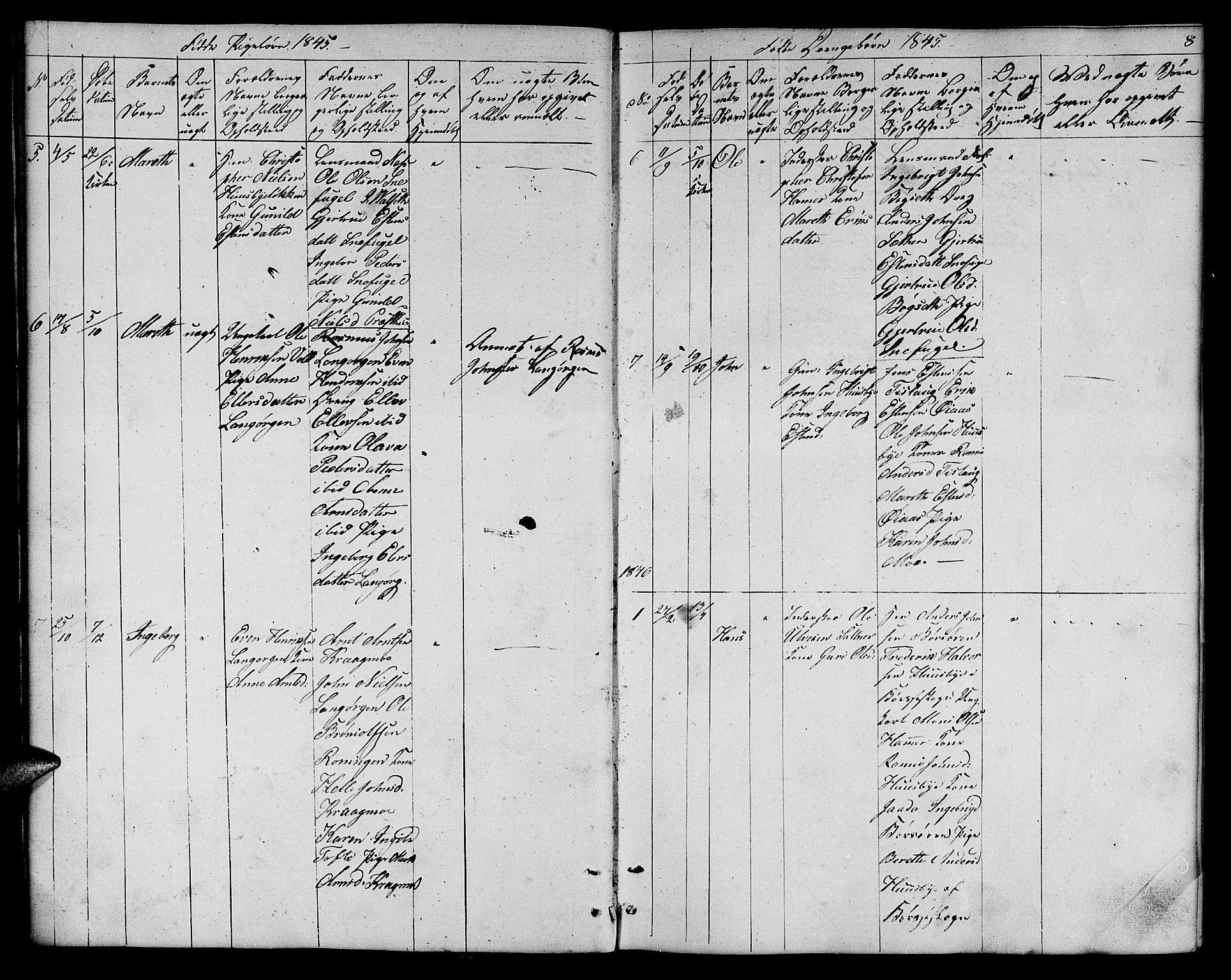 SAT, Ministerialprotokoller, klokkerbøker og fødselsregistre - Sør-Trøndelag, 666/L0789: Klokkerbok nr. 666C02, 1843-1847, s. 8