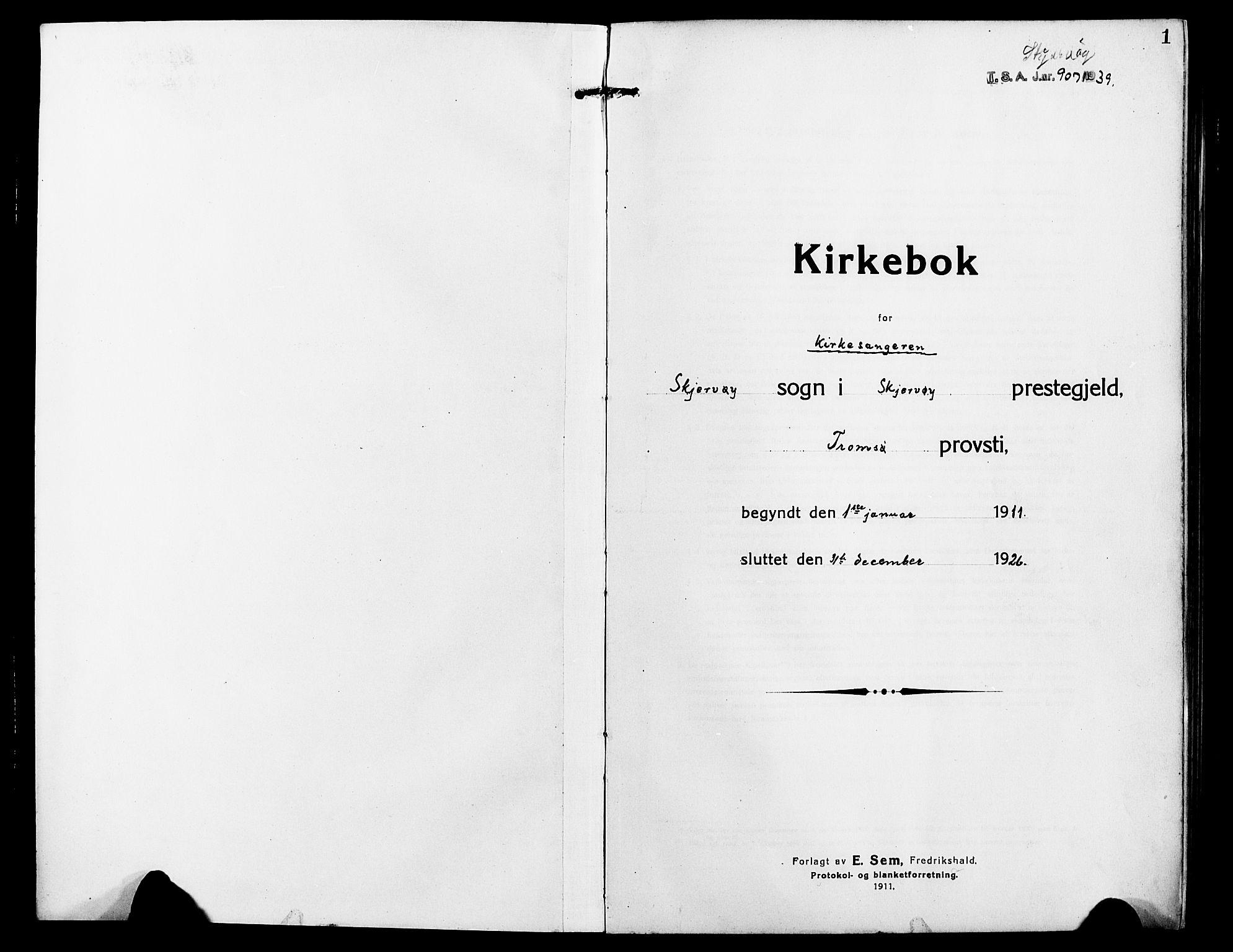 SATØ, Skjervøy sokneprestkontor, H/Ha/Hab/L0009klokker: Klokkerbok nr. 9, 1911-1926, s. 1