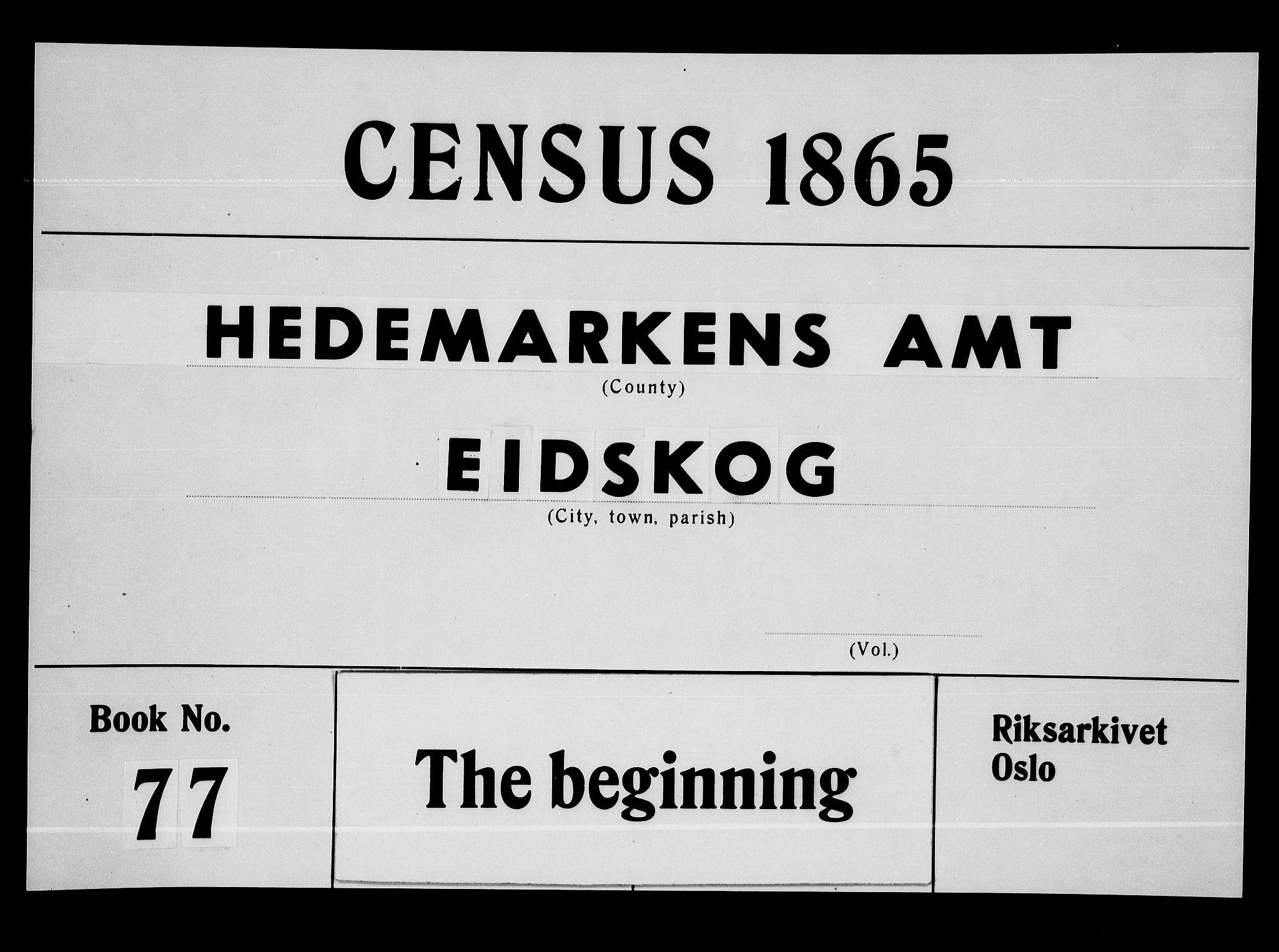 RA, Folketelling 1865 for 0420P Eidskog prestegjeld, 1865, s. 1