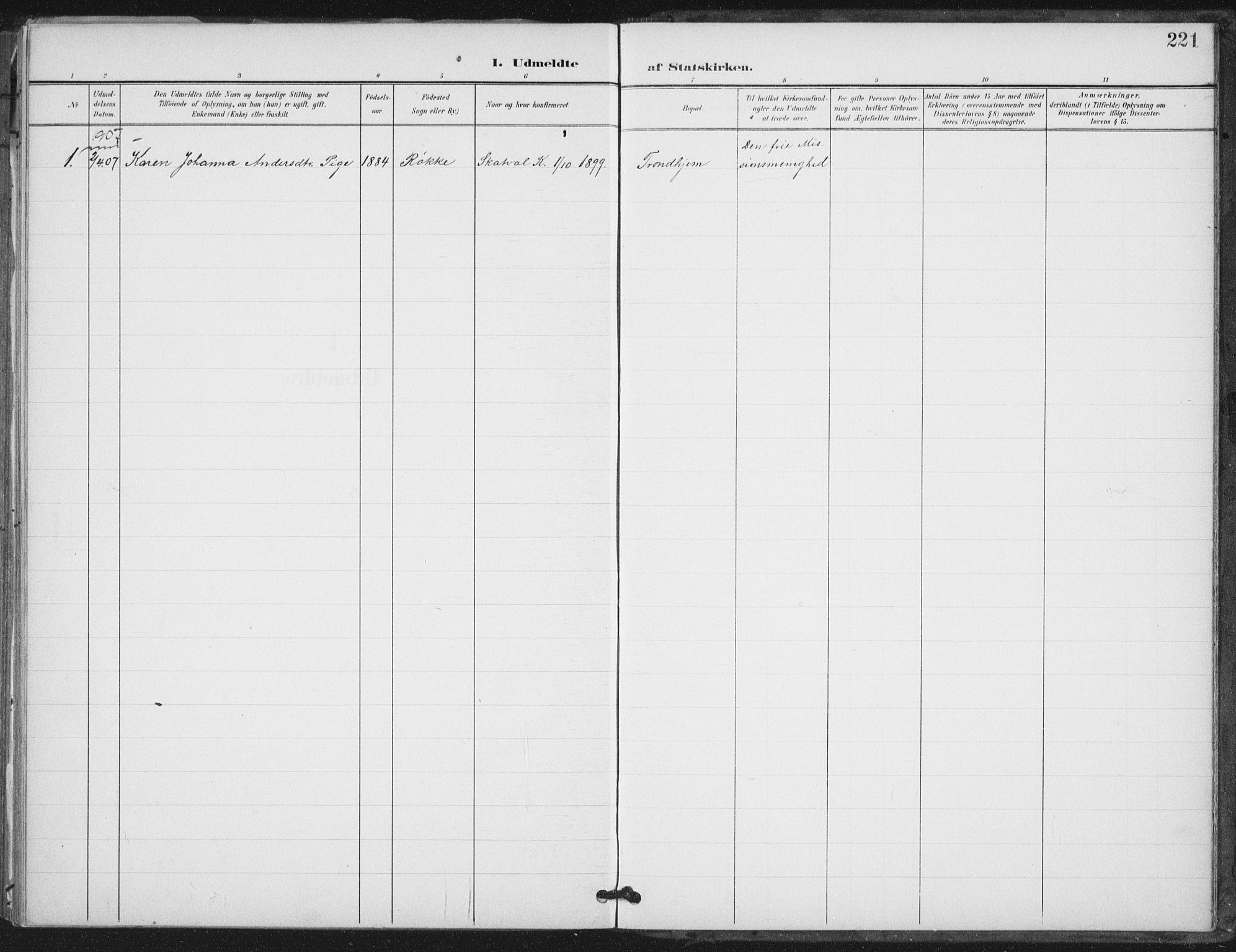 SAT, Ministerialprotokoller, klokkerbøker og fødselsregistre - Nord-Trøndelag, 712/L0101: Ministerialbok nr. 712A02, 1901-1916, s. 221