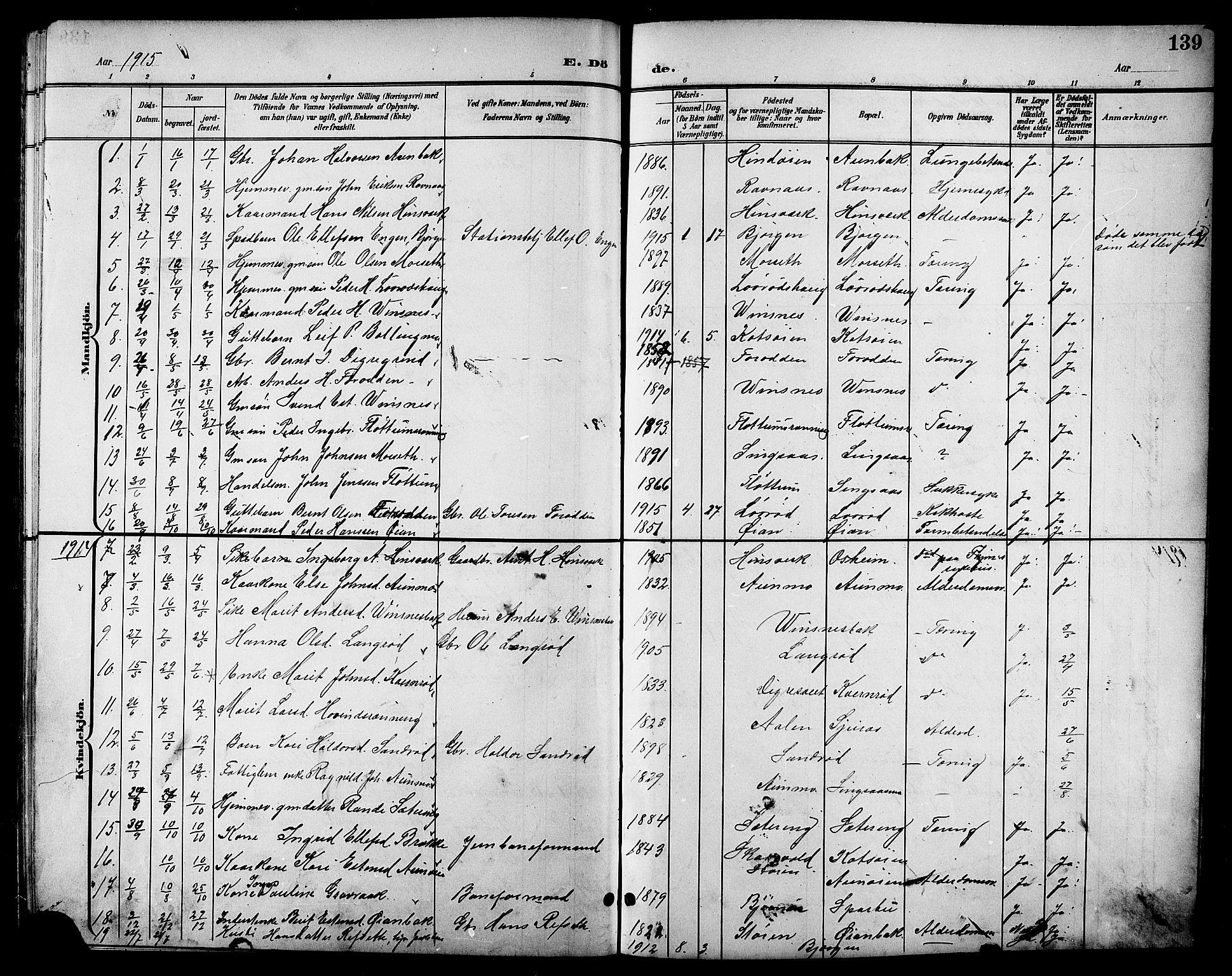 SAT, Ministerialprotokoller, klokkerbøker og fødselsregistre - Sør-Trøndelag, 688/L1029: Klokkerbok nr. 688C04, 1899-1915, s. 139