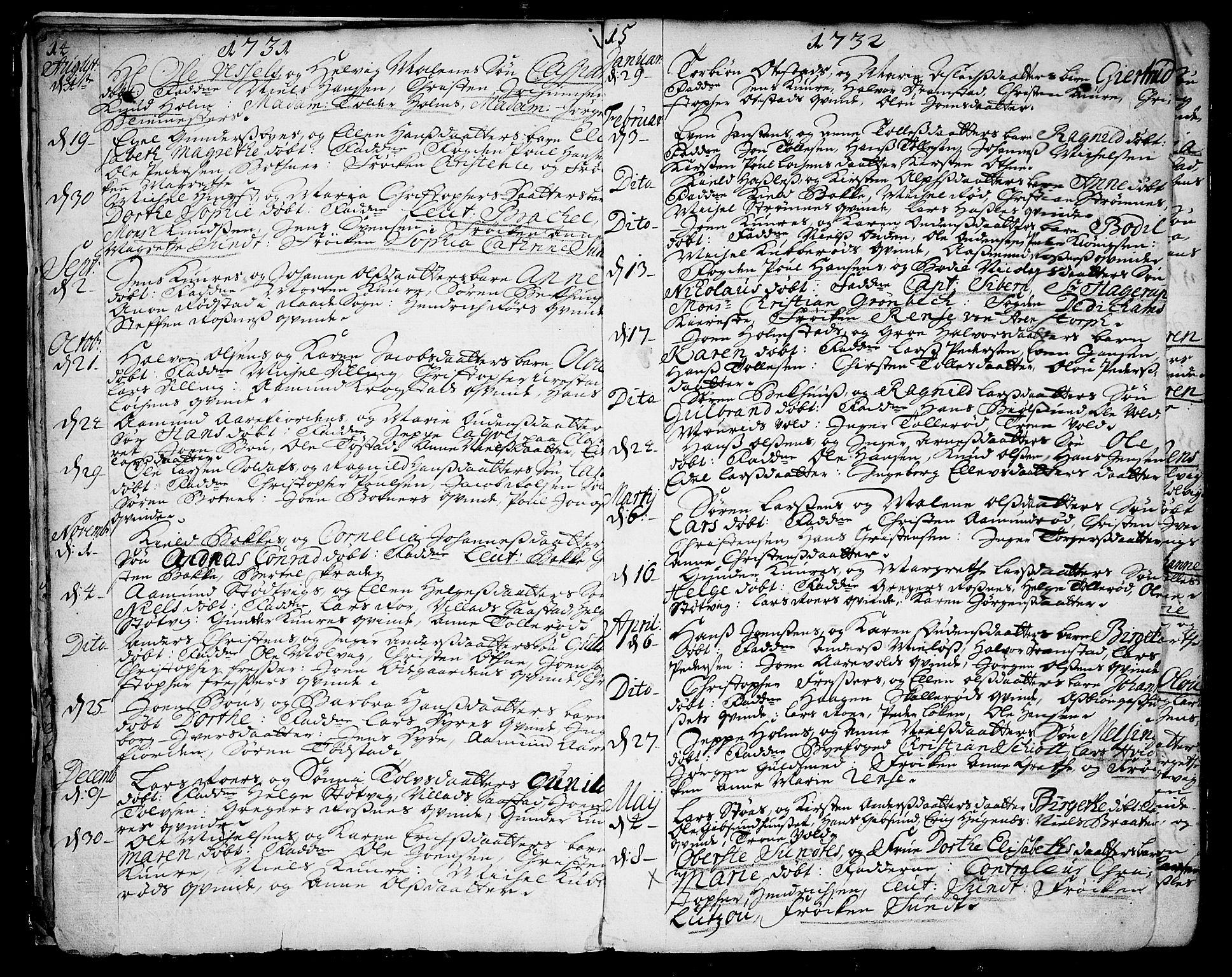 SAO, Rygge prestekontor Kirkebøker, F/Fa/L0001: Ministerialbok nr. 1, 1725-1771, s. 14-15